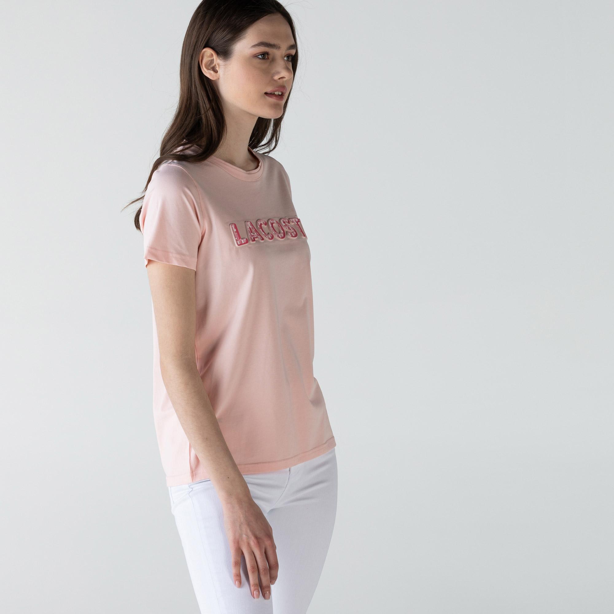 Lacoste Kadın Slim Fit Bisiklet Yaka Baskılı Pembe T-Shirt