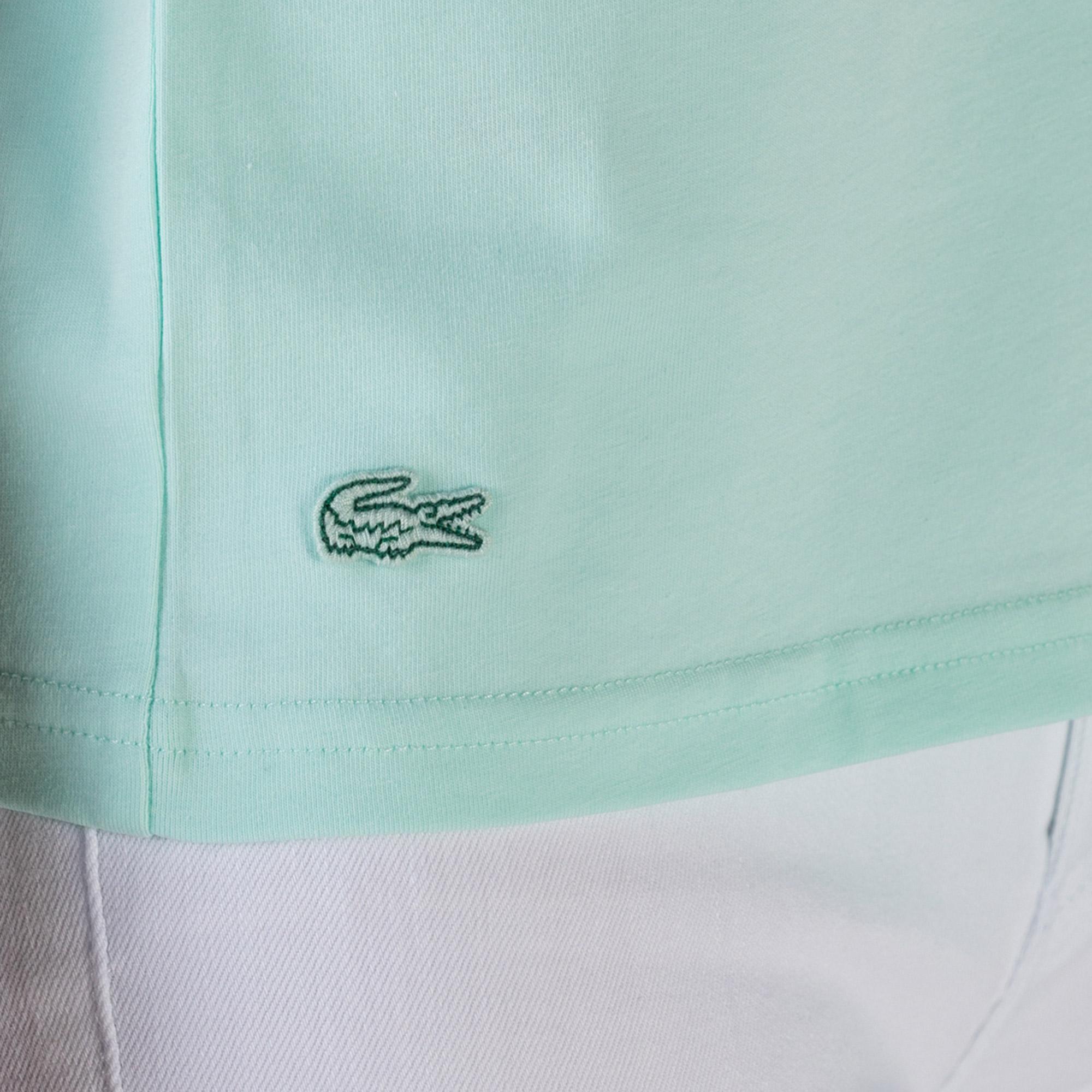 Lacoste Kadın Slim Fit Bisiklet Yaka Baskılı Mint Yeşil T-Shirt