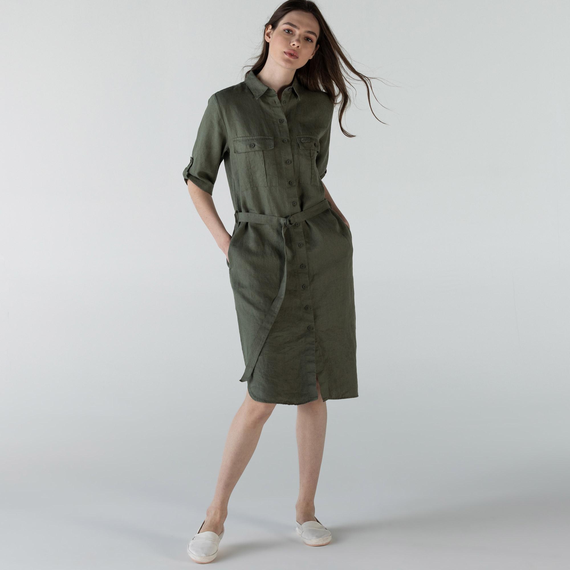 Lacoste Kadın Kısa Kollu Gömlek Yaka Haki Elbise