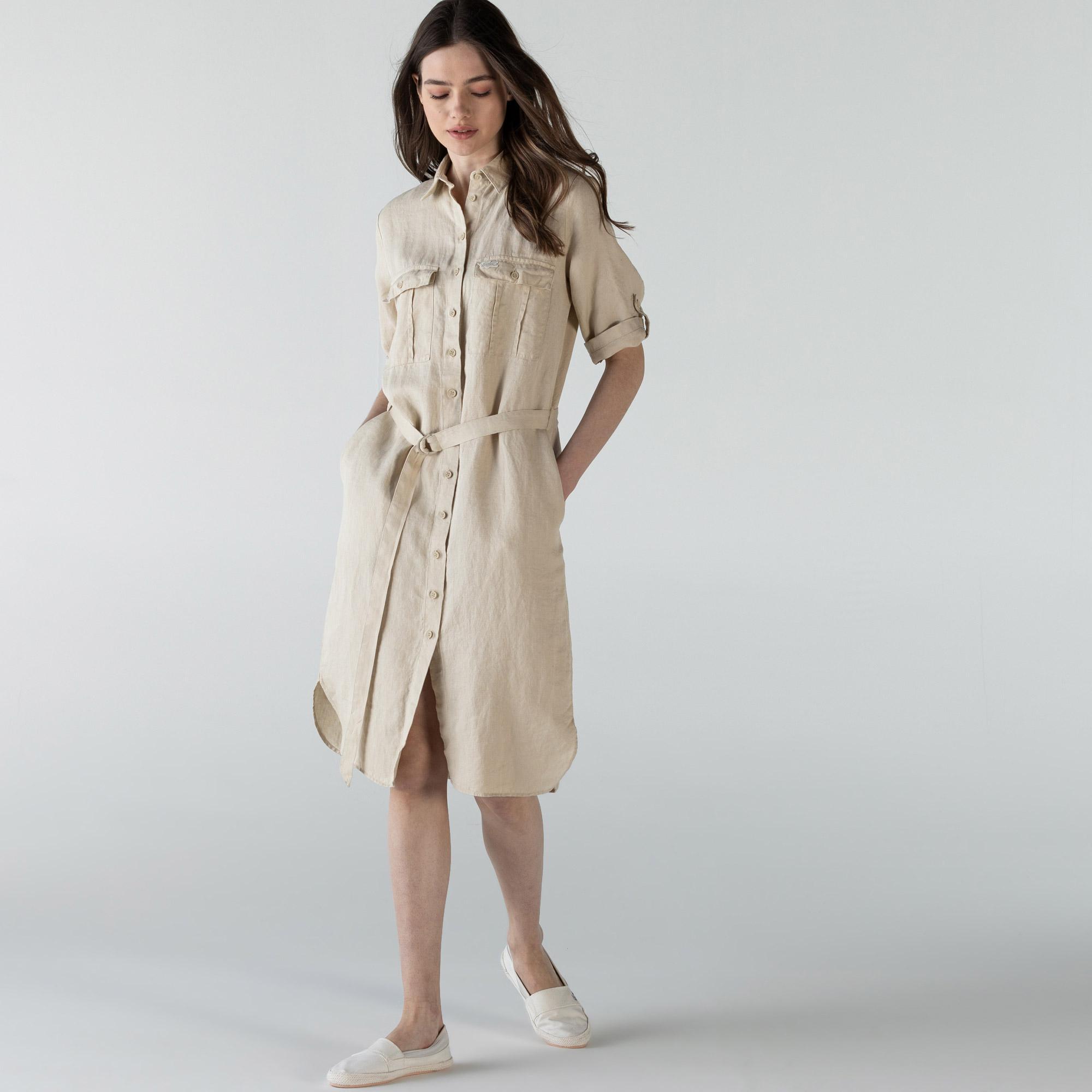 Lacoste Kadın Kısa Kollu Gömlek Yaka Bej Elbise