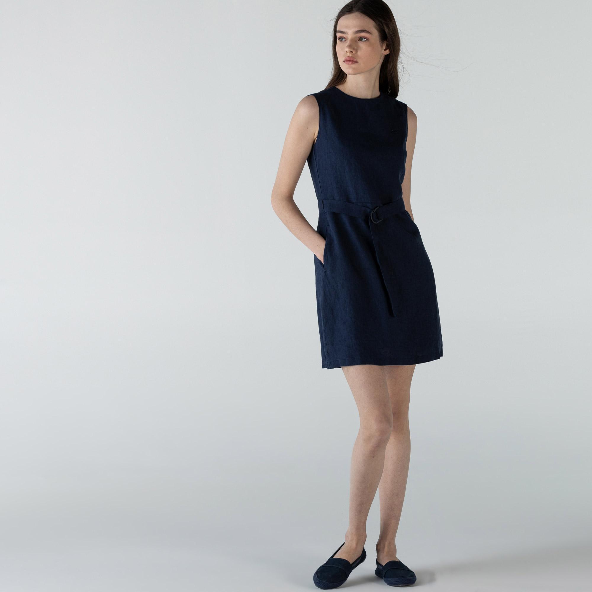 Lacoste Kadın Keten Kolsuz Bisiklet Yaka Lacivert Elbise