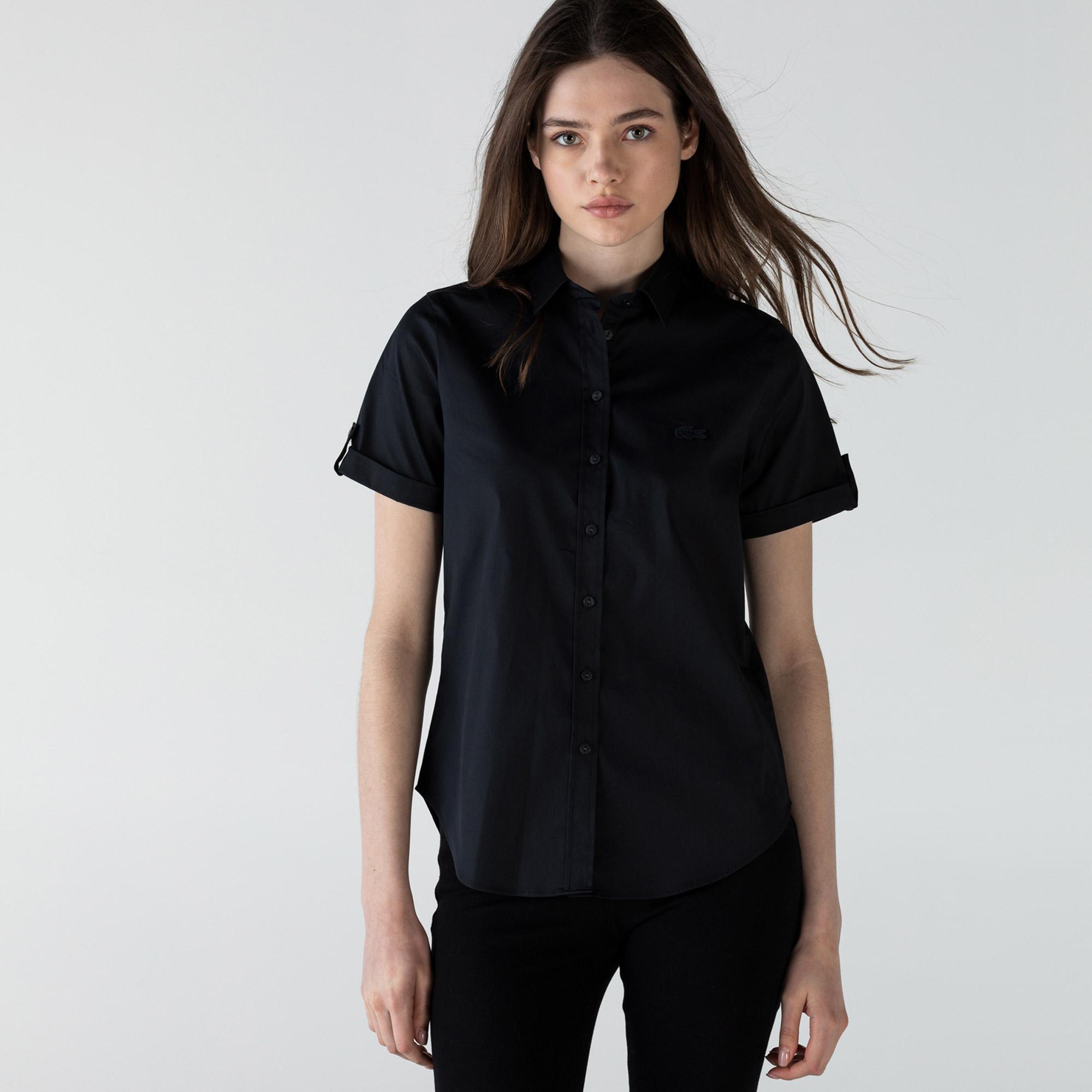 Lacoste Kadın Kısa Kollu Siyah Gömlek