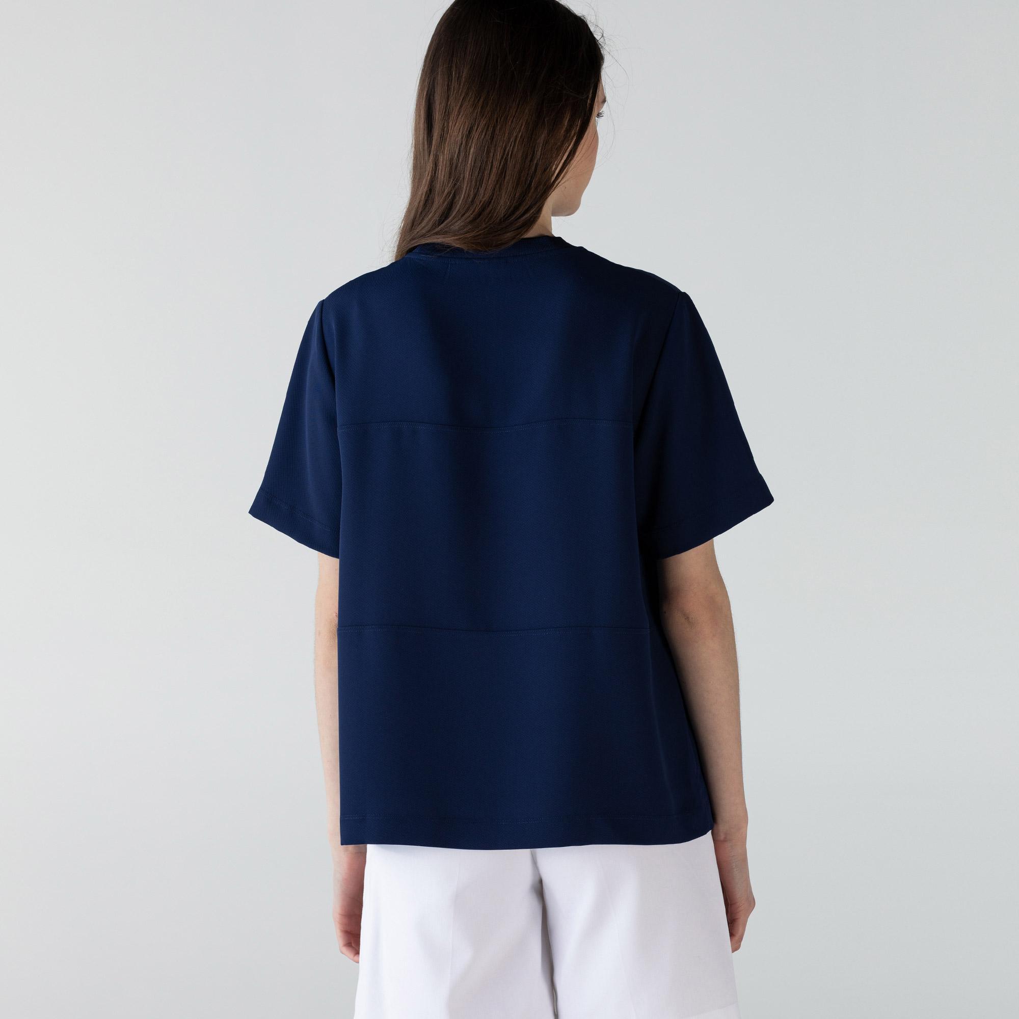 Lacoste Kadın Kısa Kollu Bisiklet Yaka Renk Bloklu Lacivert Gömlek