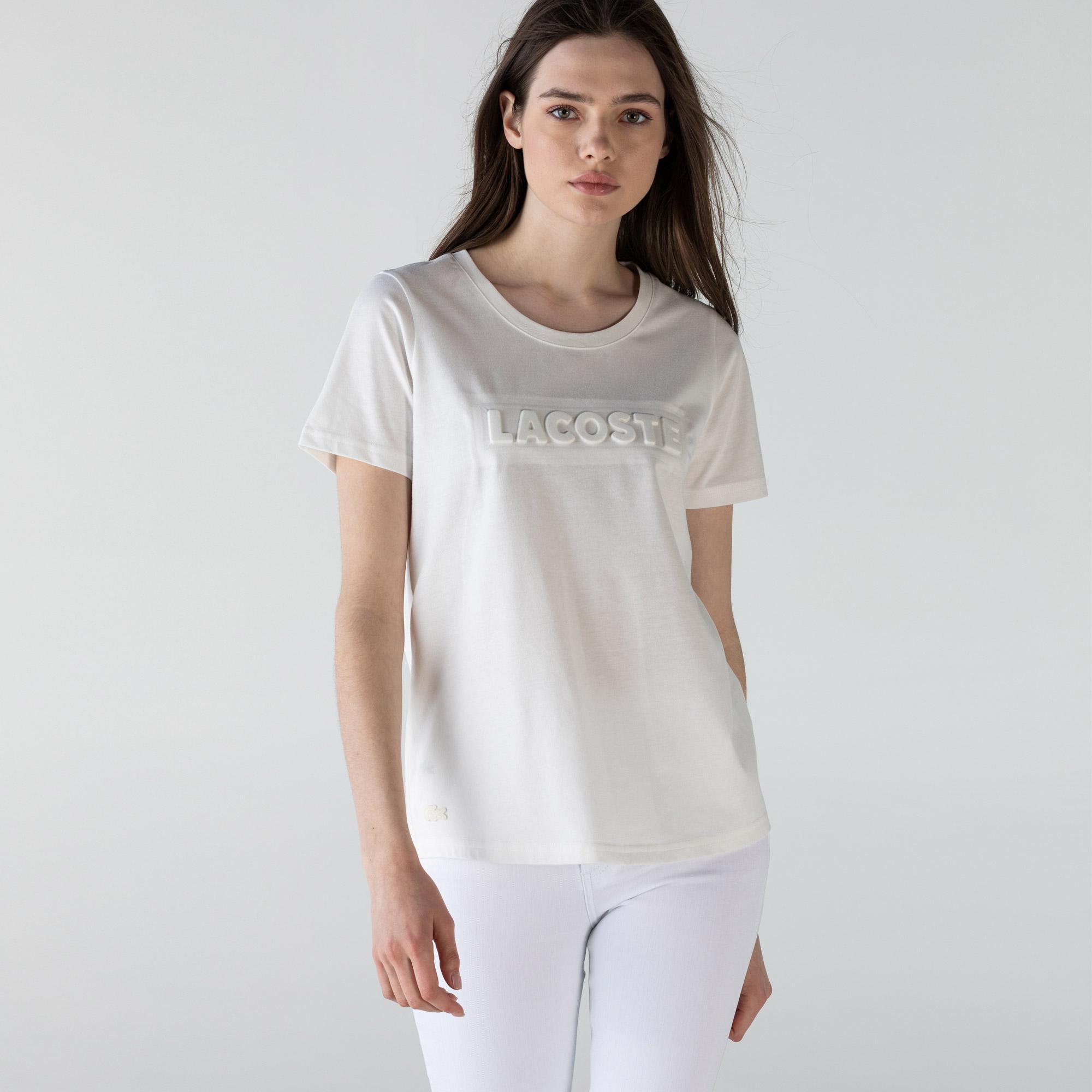 Lacoste Kadın Bisiklet Yaka Baskılı Beyaz T-Shirt