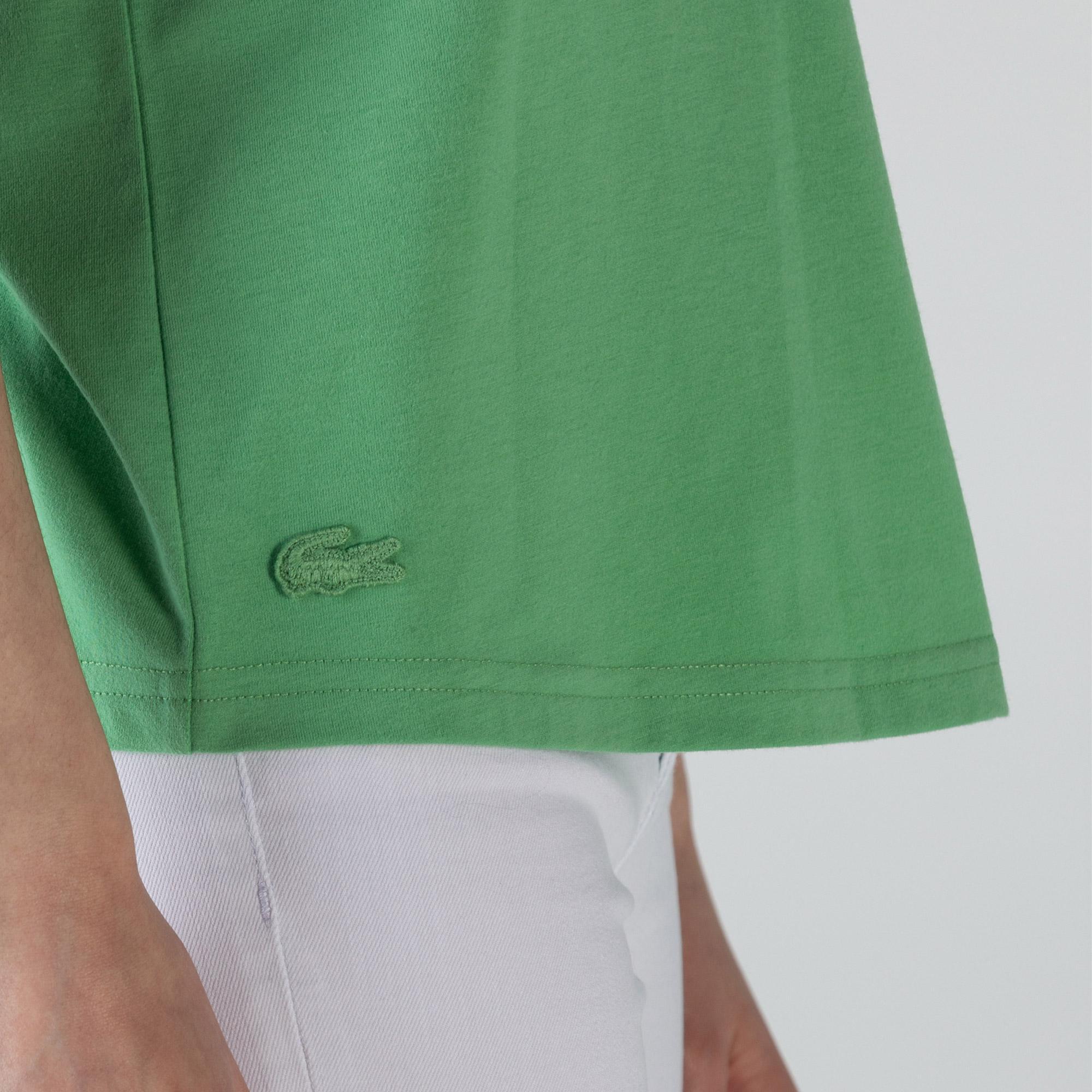 Lacoste Kadın Bisiklet Yaka Baskılı Yeşil T-Shirt