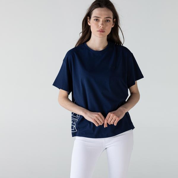 Lacoste Kadın Bisiklet Yaka Baskılı Lacivert T-Shirt