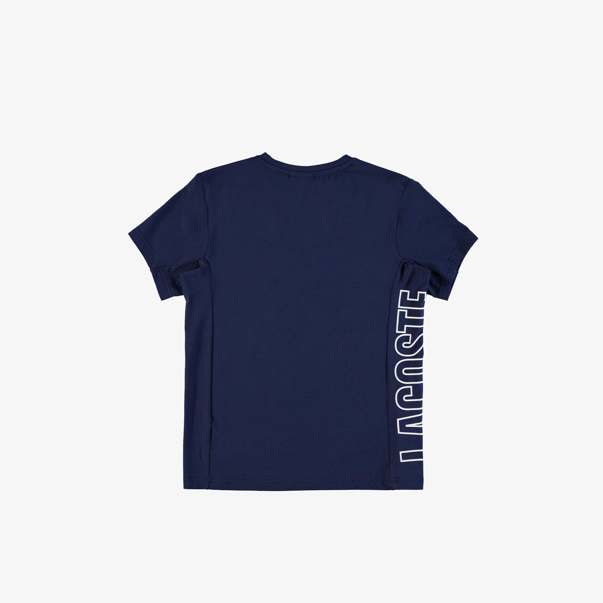 Lacoste Çocuk Bisiklet Yaka Baskılı Lacivert T-Shirt