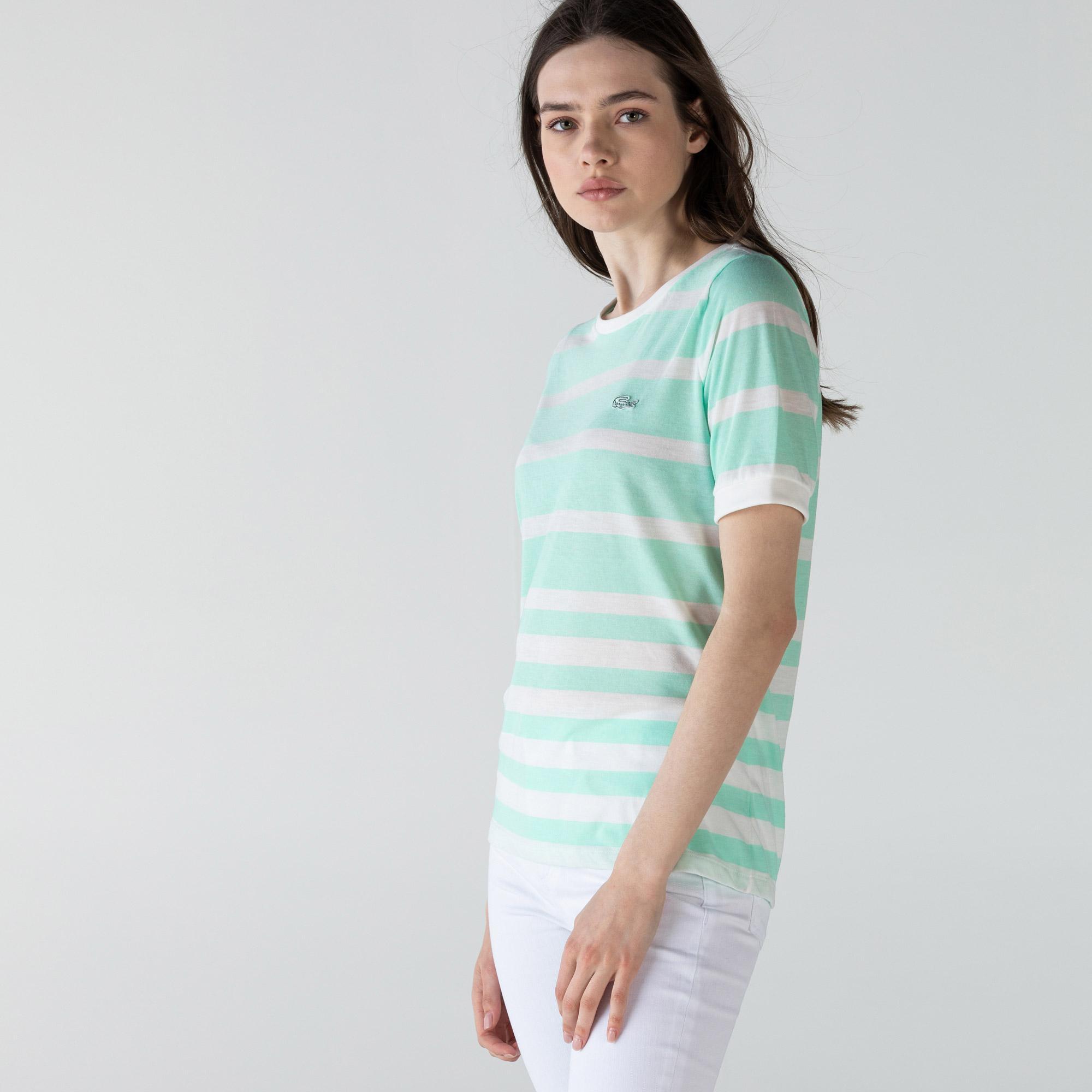 Lacoste Kadın Bisiklet Yaka Çizgili Yeşil - Beyaz T-Shirt