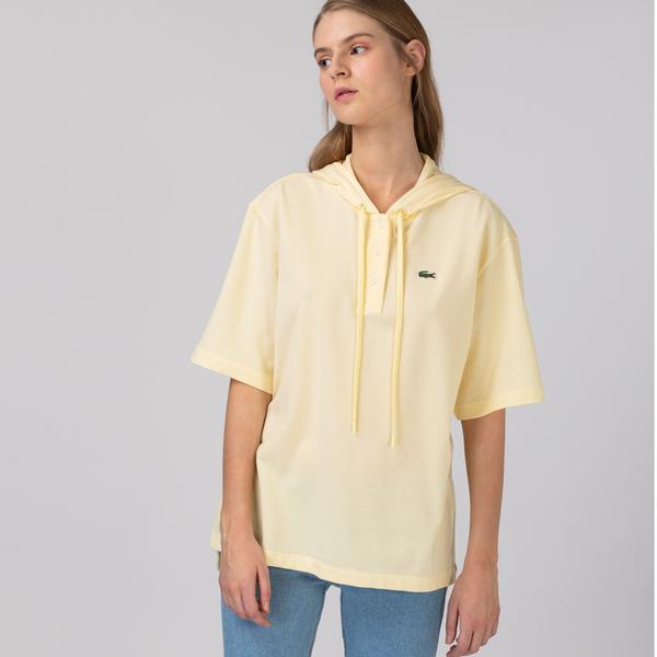 Lacoste L!ve Kadın Kapüşonlu Sarı Polo