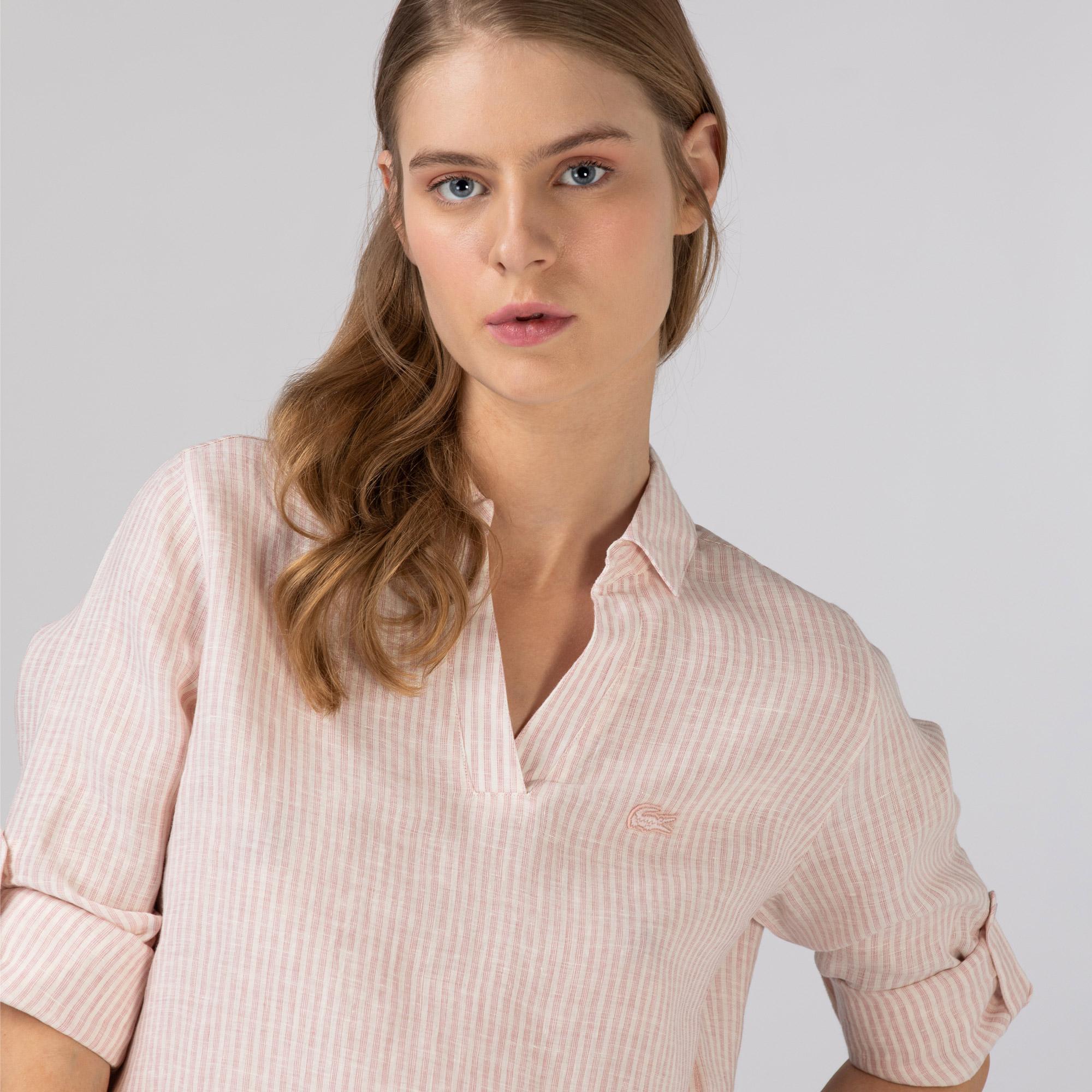 Lacoste Kadın Keten Çizgili Pembe Gömlek