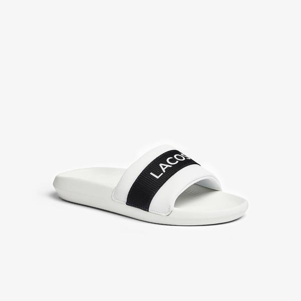 Lacoste Croco Slide 0721 1 Cfa Kadın Beyaz - Siyah Terlik