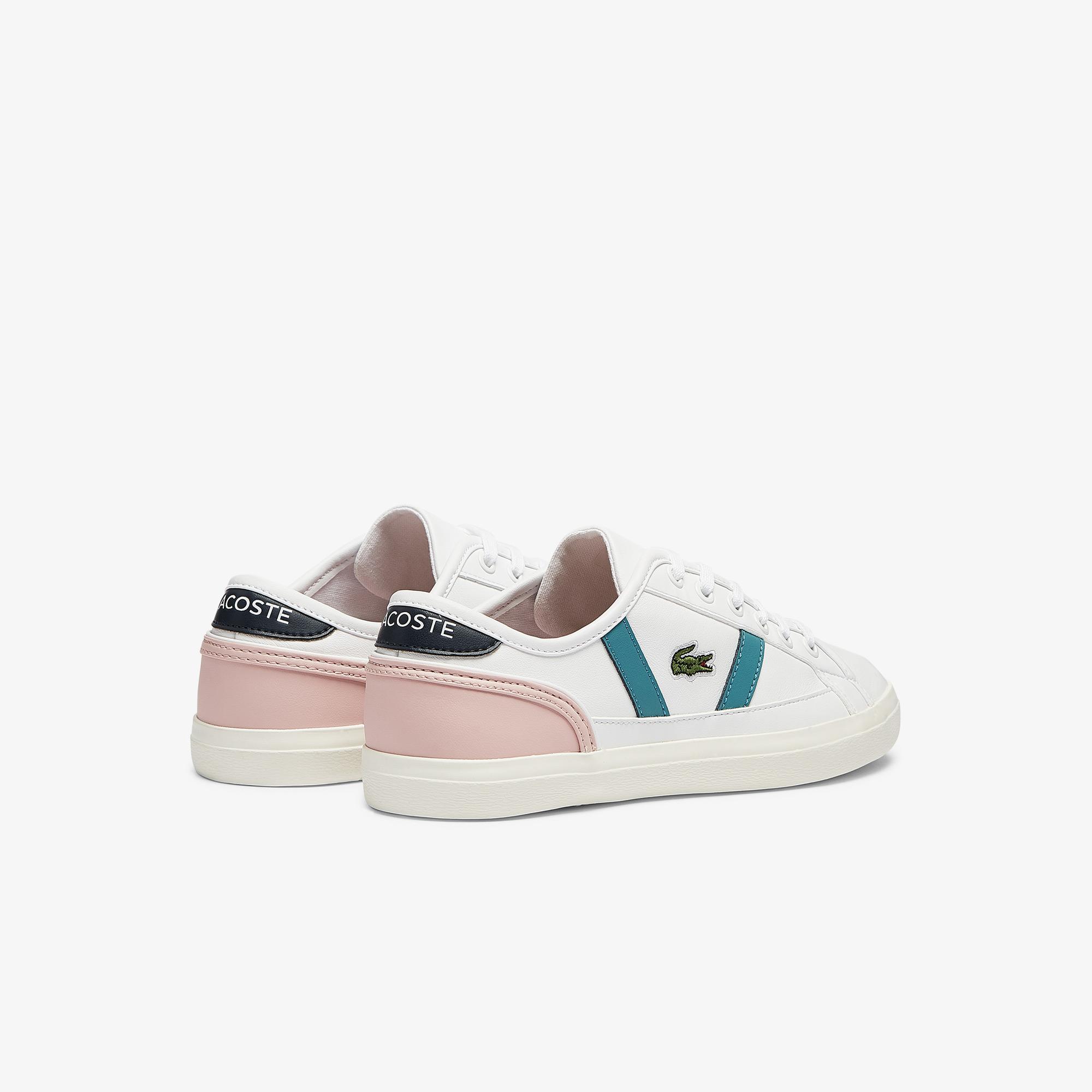 Lacoste Sideline 0721 1 Cfa Kadın Beyaz - Pembe - Mavi Sneaker