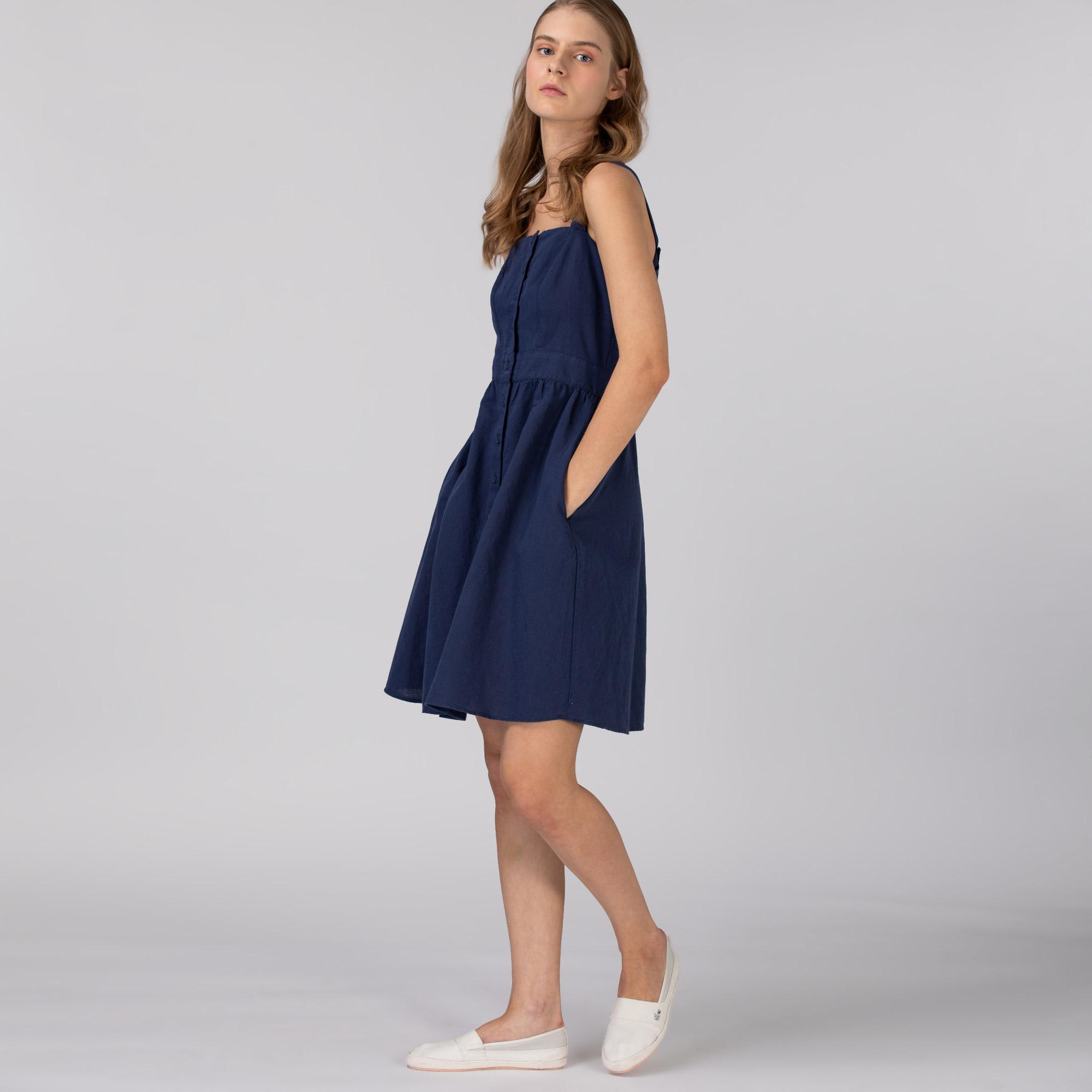 Lacoste Kadın Askılı Lacivert Elbise
