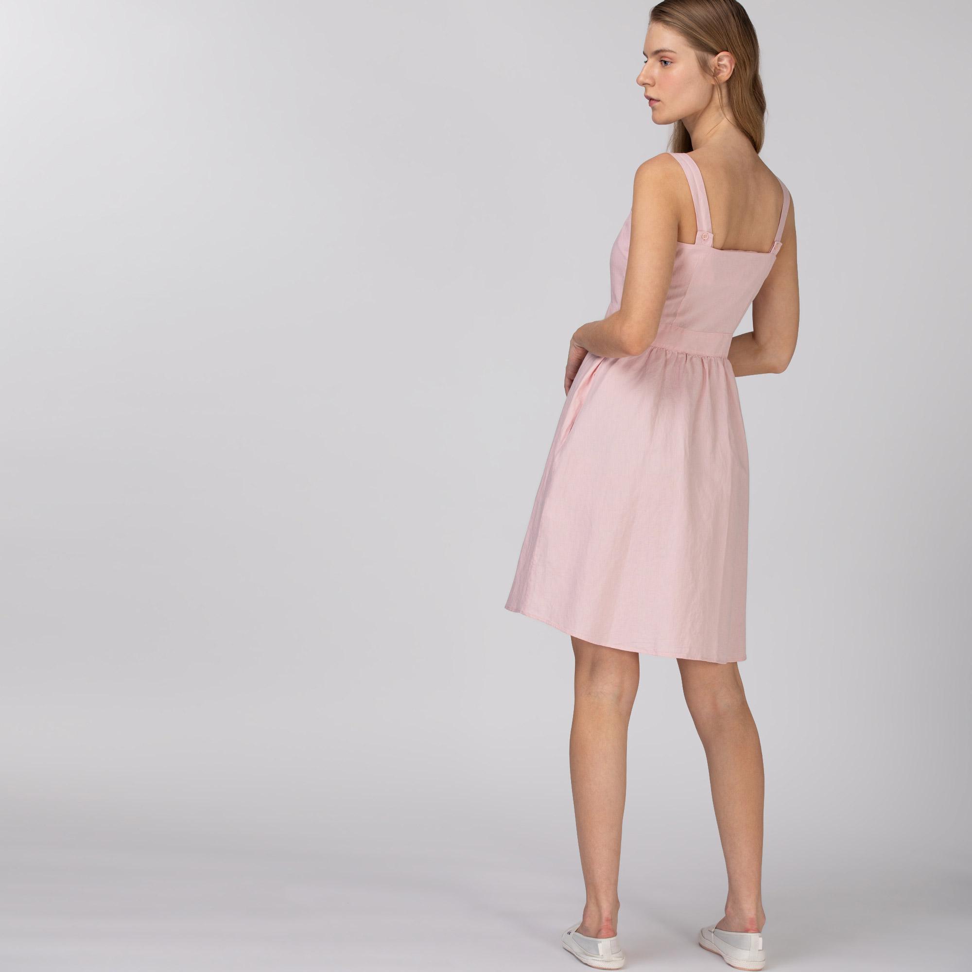 Lacoste Kadın Askılı Pembe Elbise