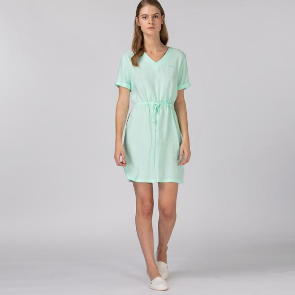 Lacoste Kadın Kısa Kollu V Yaka Açık Yeşil Elbise