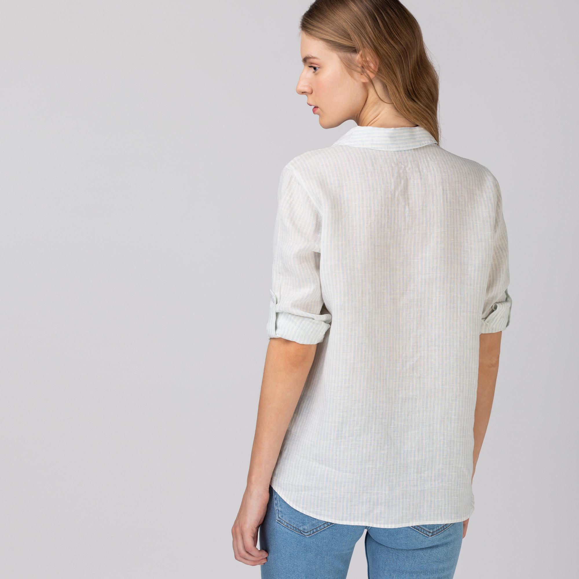 Lacoste Kadın Keten Çizgili Açık Mavi Gömlek