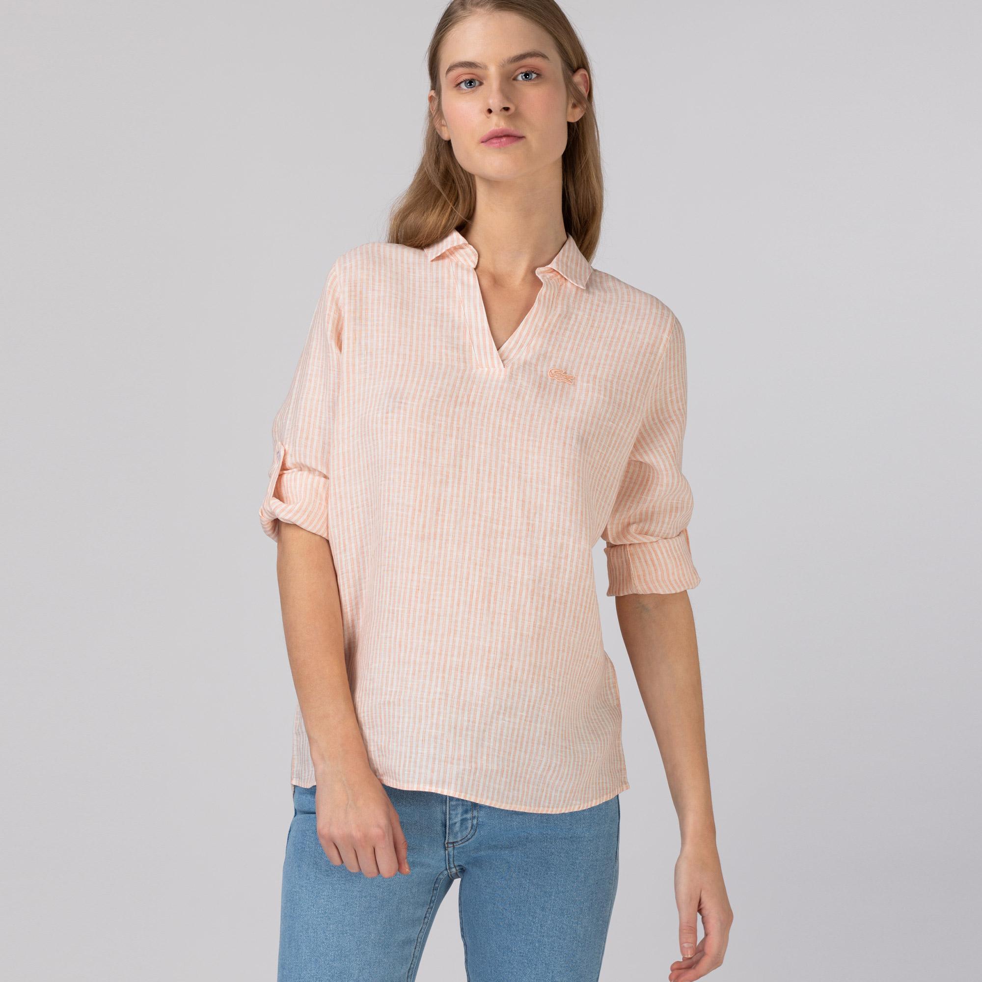 Lacoste Kadın Keten Çizgili Turuncu Gömlek