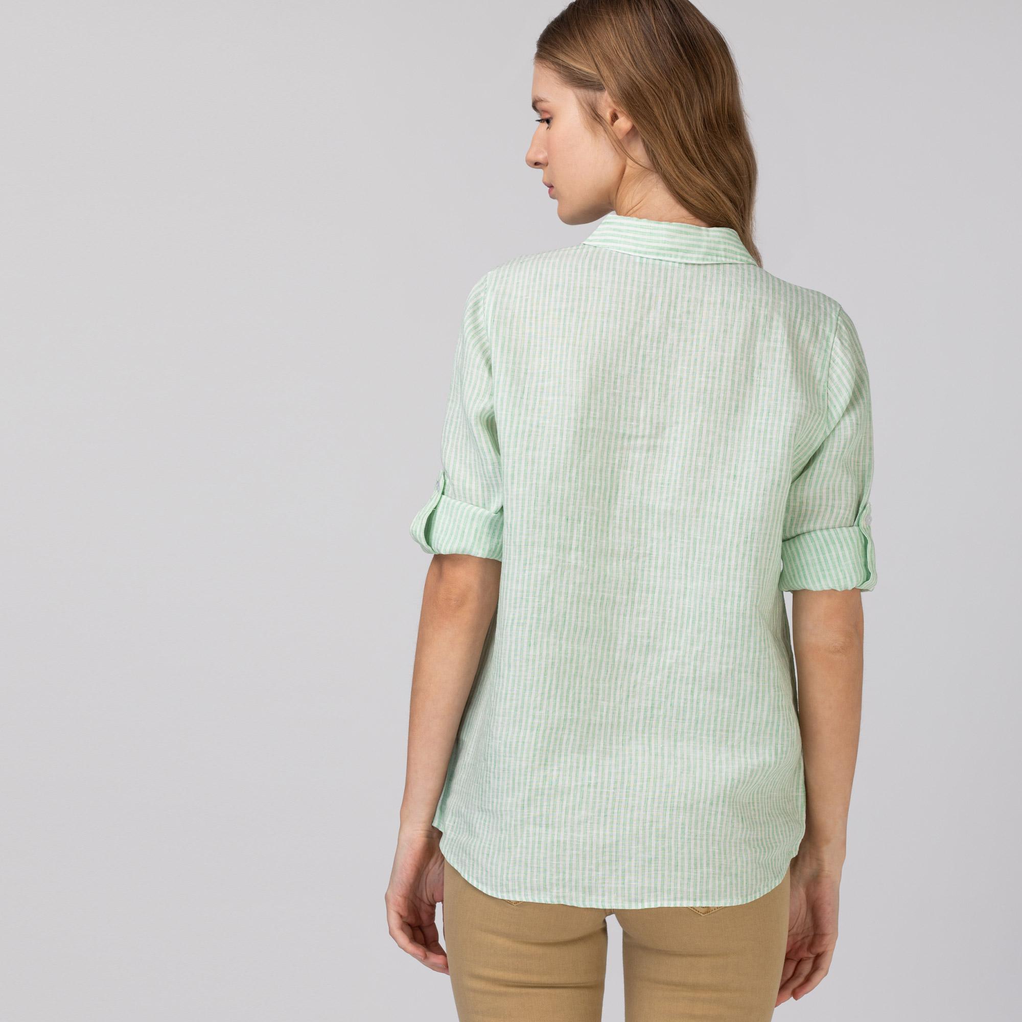 Lacoste Kadın Keten Çizgili Yeşil Gömlek