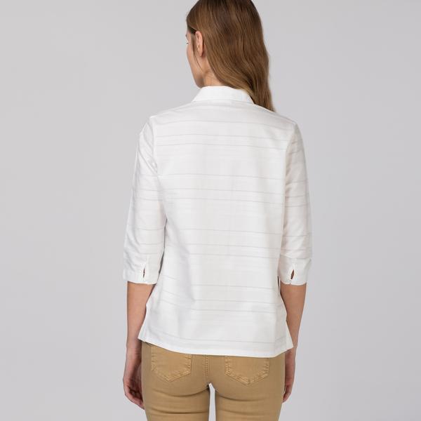 Lacoste Kadın Desenli Beyaz Gömlek