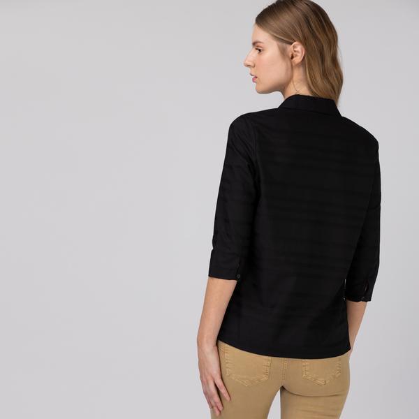 Lacoste Kadın Desenli Siyah Gömlek