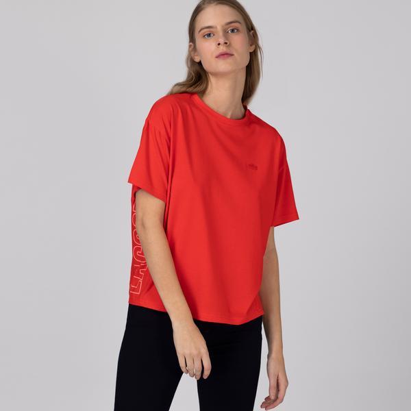 Lacoste Kadın Bisiklet Yaka Baskılı Kırmızı T-Shirt