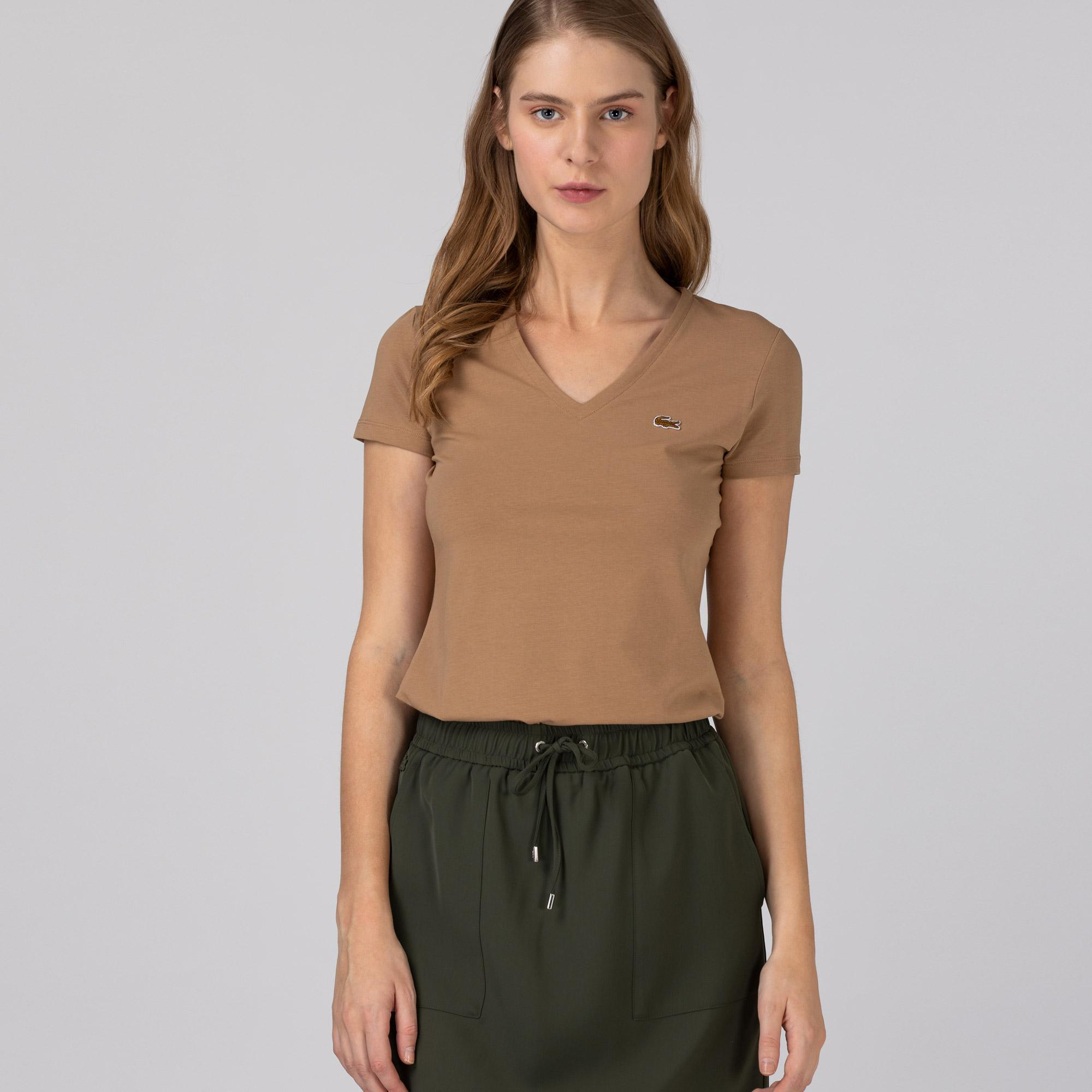 Lacoste Kadın Slim Fit V Yaka Bej T-Shirt
