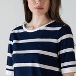 Lacoste Kadın Bisiklet Yaka Çizgili Lacivert - Beyaz T-Shirt