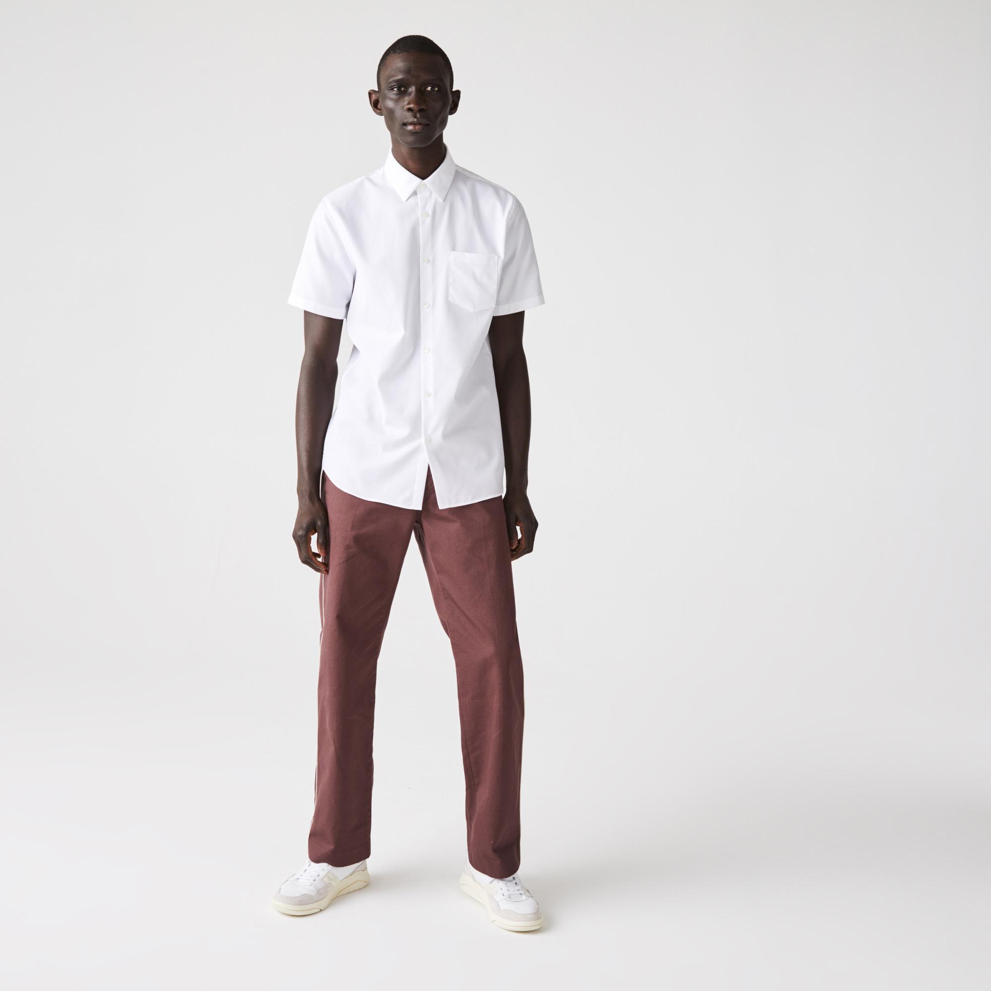 Lacoste Erkek Regular Fit Poplin Kısa Kollu Beyaz Gömlek
