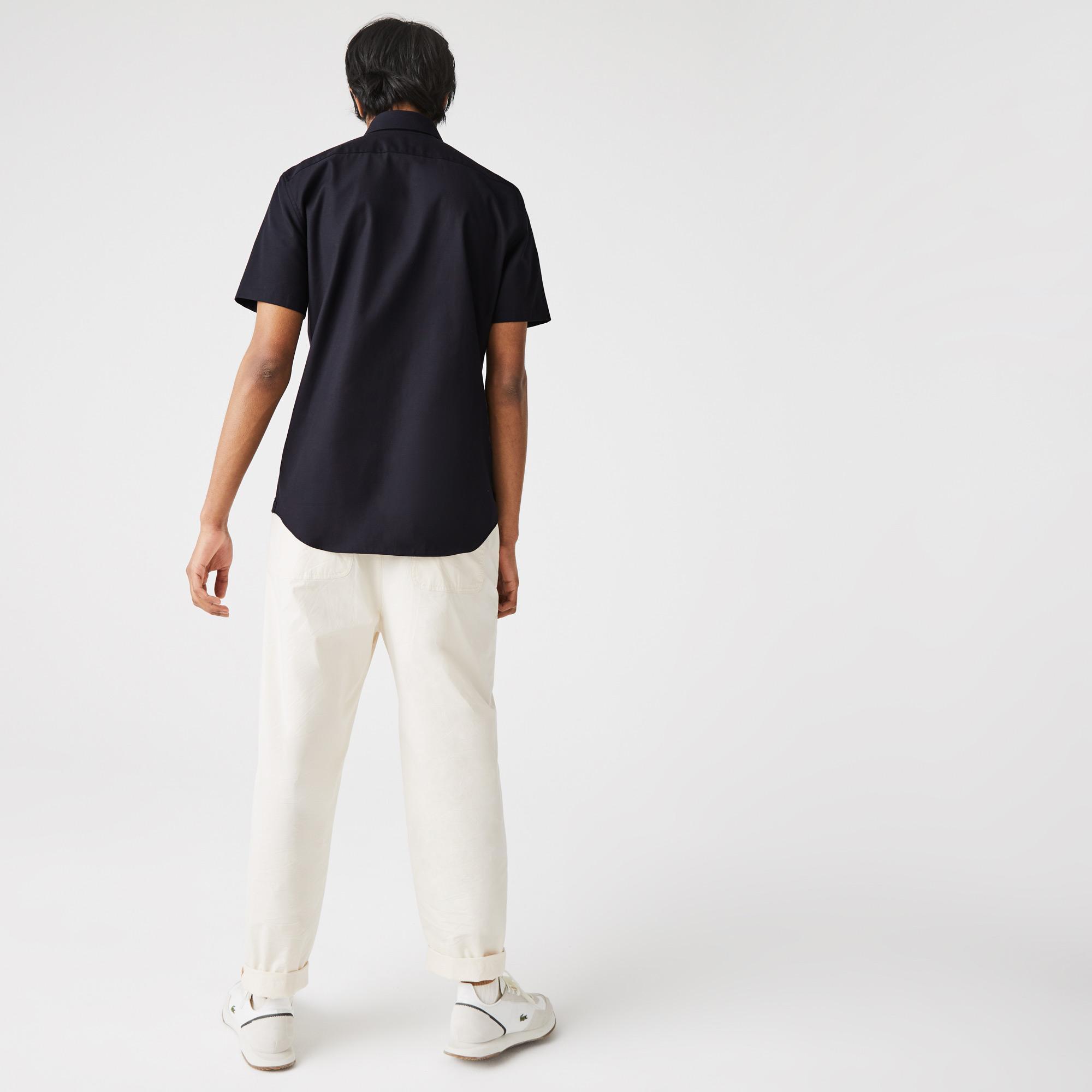 Lacoste Erkek Regular Fit Poplin Kısa Kollu Siyah Gömlek