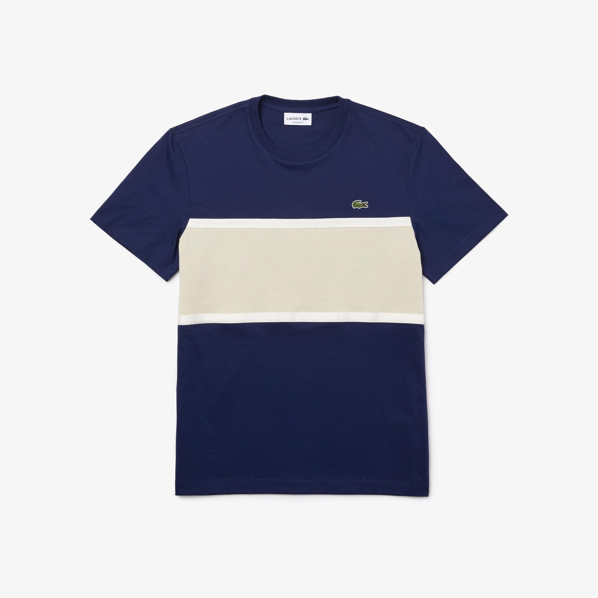 Lacoste Erkek Regular Fit Bisiklet Yaka Renk Bloklu Lacivert T-Shirt
