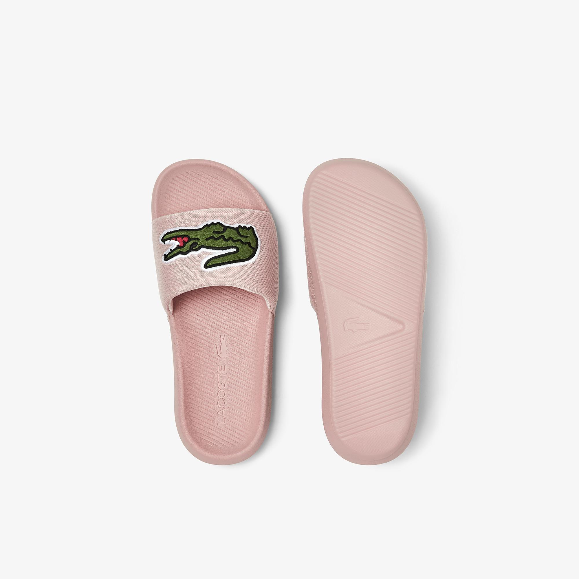 Lacoste Croco Slide 0921 1 Cfa Kadın Pembe - Yeşil Terlik