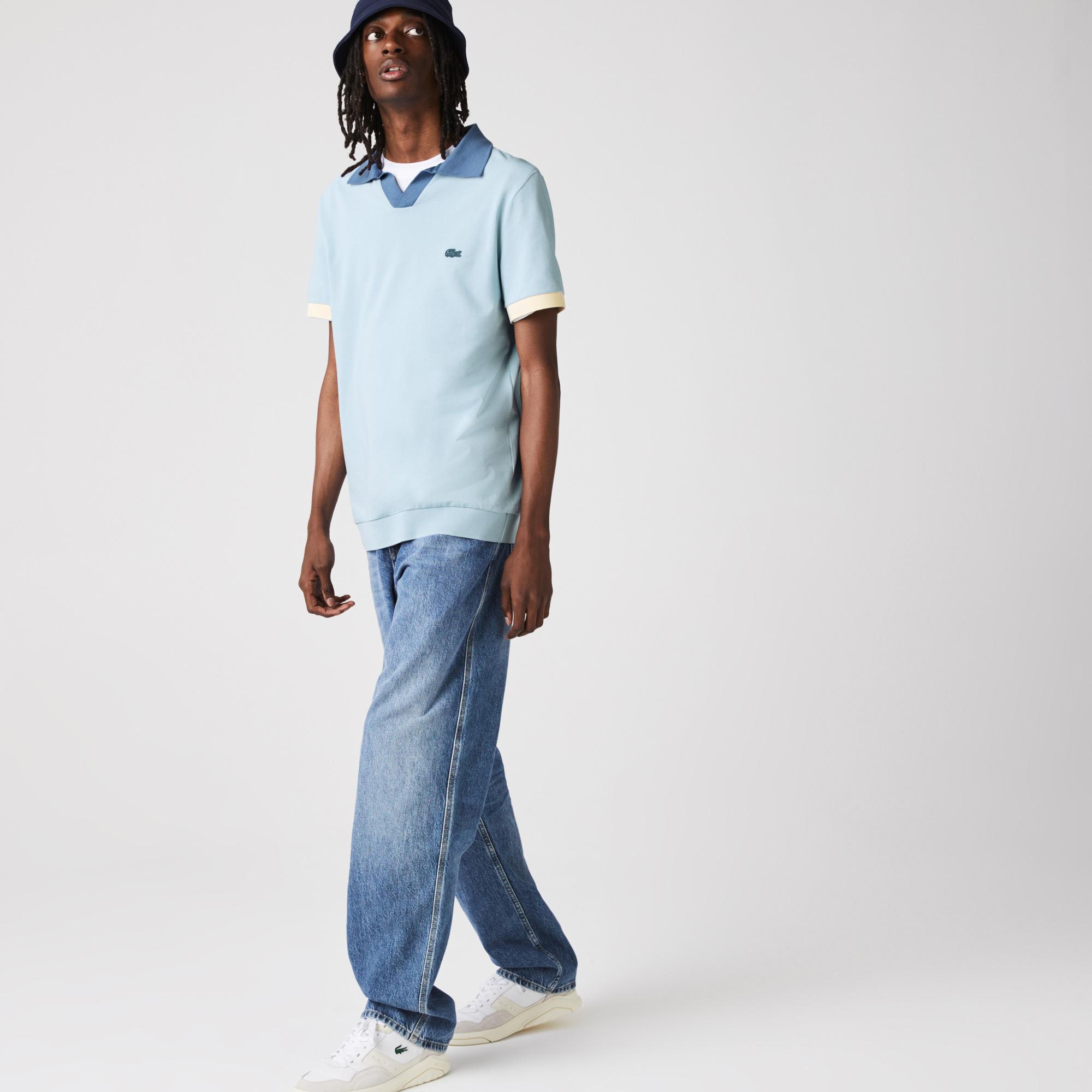 Lacoste Erkek Regular Fit V Yaka Mavi Polo