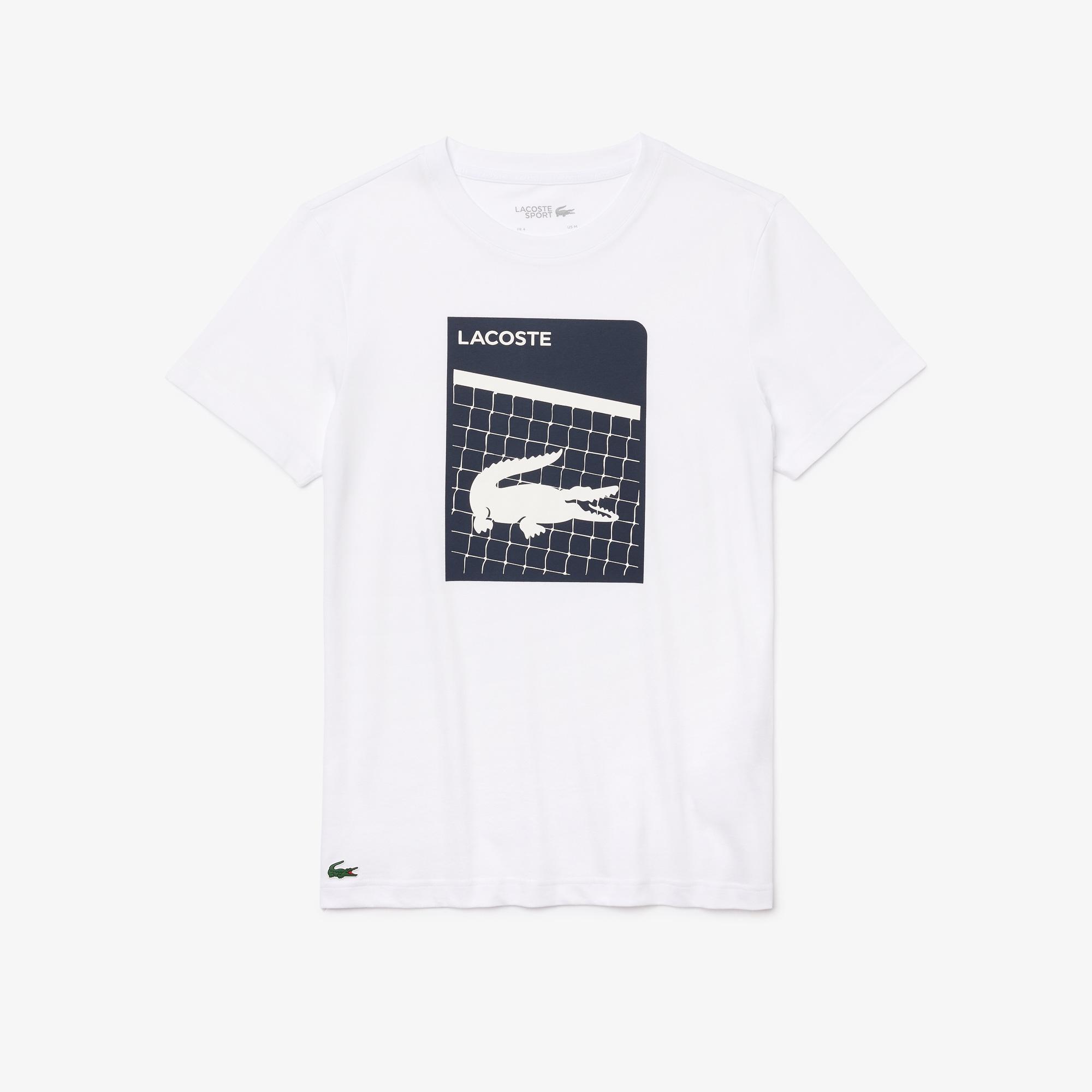 Lacoste Sport Erkek Bisiklet Yaka Baskılı Beyaz T-Shirt