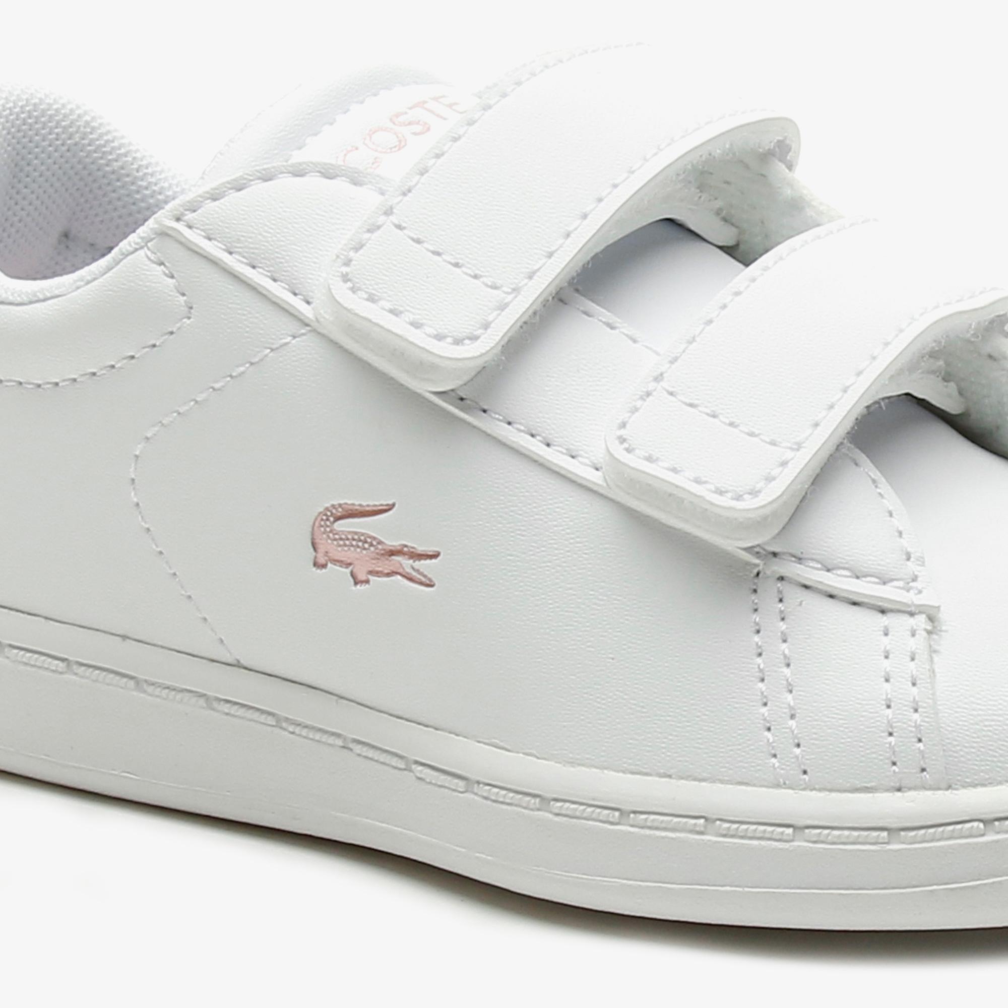 Lacoste Carnaby Evo 0921 1 Sui Çocuk Beyaz - Açık Pembe Sneaker