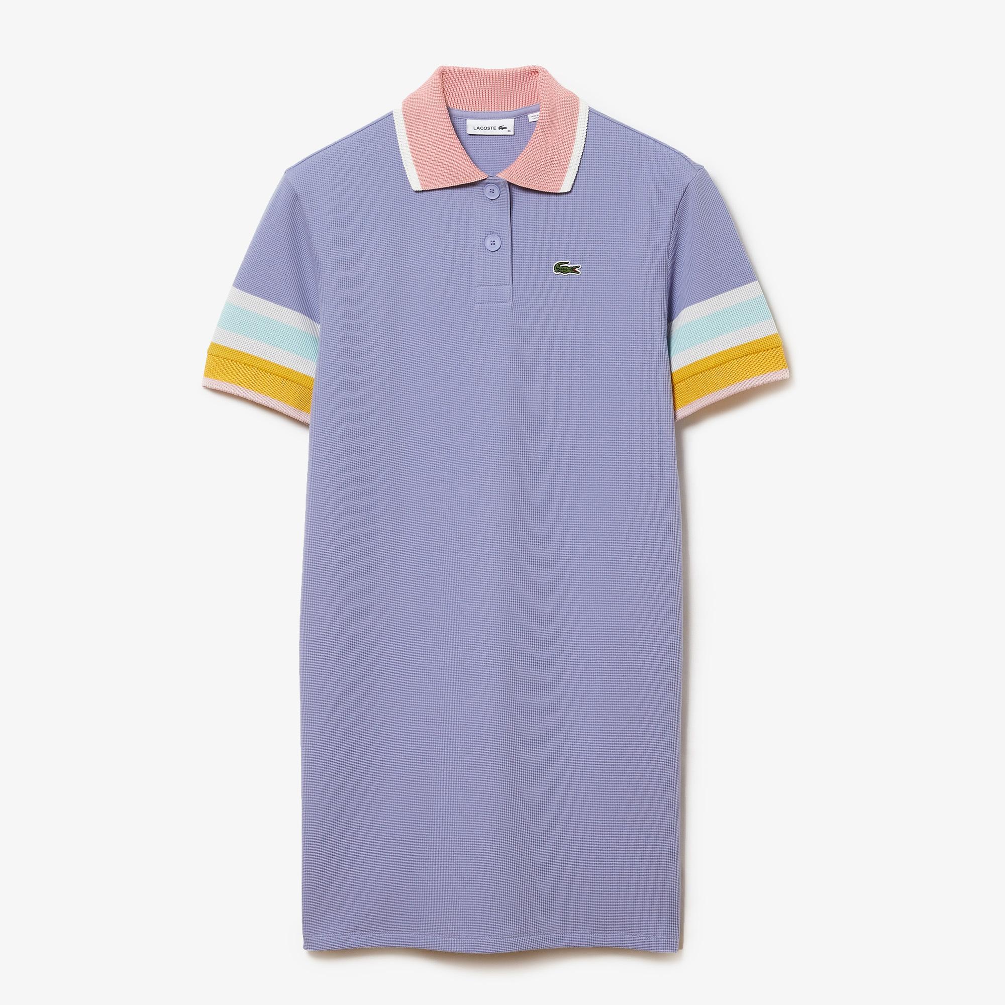 Lacoste Kadın Kısa Kollu Polo Yaka Mavi Elbise