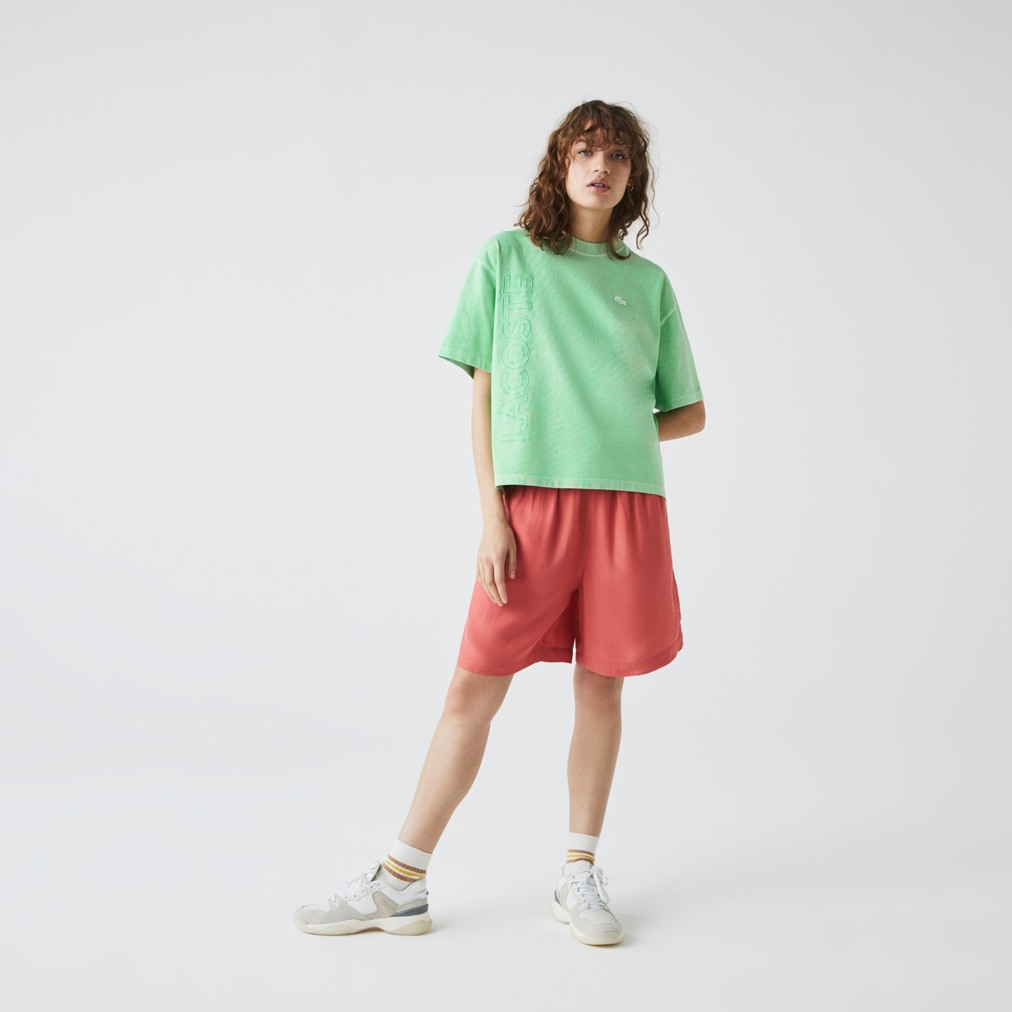 Lacoste L!ve Kadın Boxy Fit Bisiklet Yaka Baskılı Yeşil T-Shirt