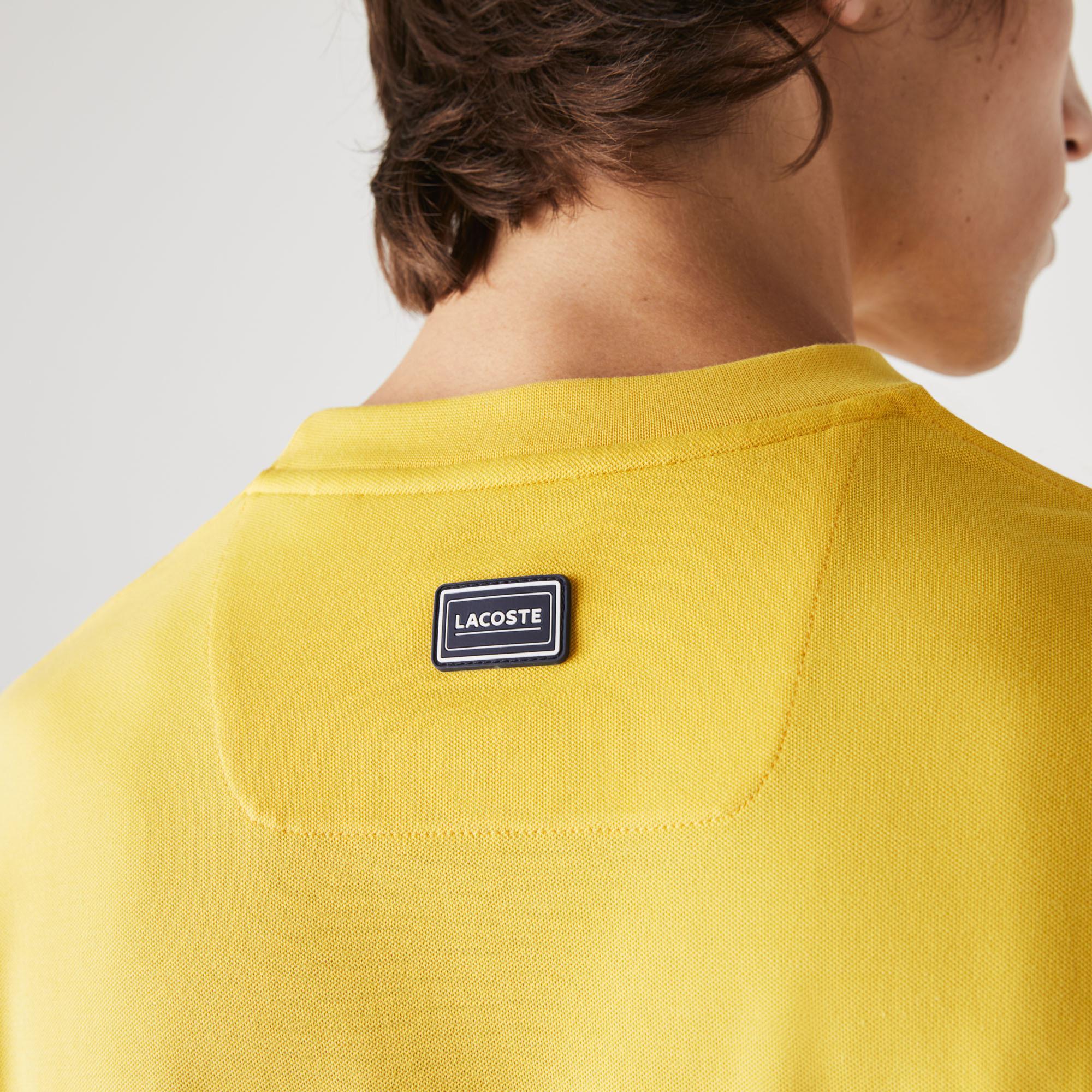 Lacoste Erkek Rahat Fit Bisiklet Yaka Renk Bloklu Sarı T-Shirt