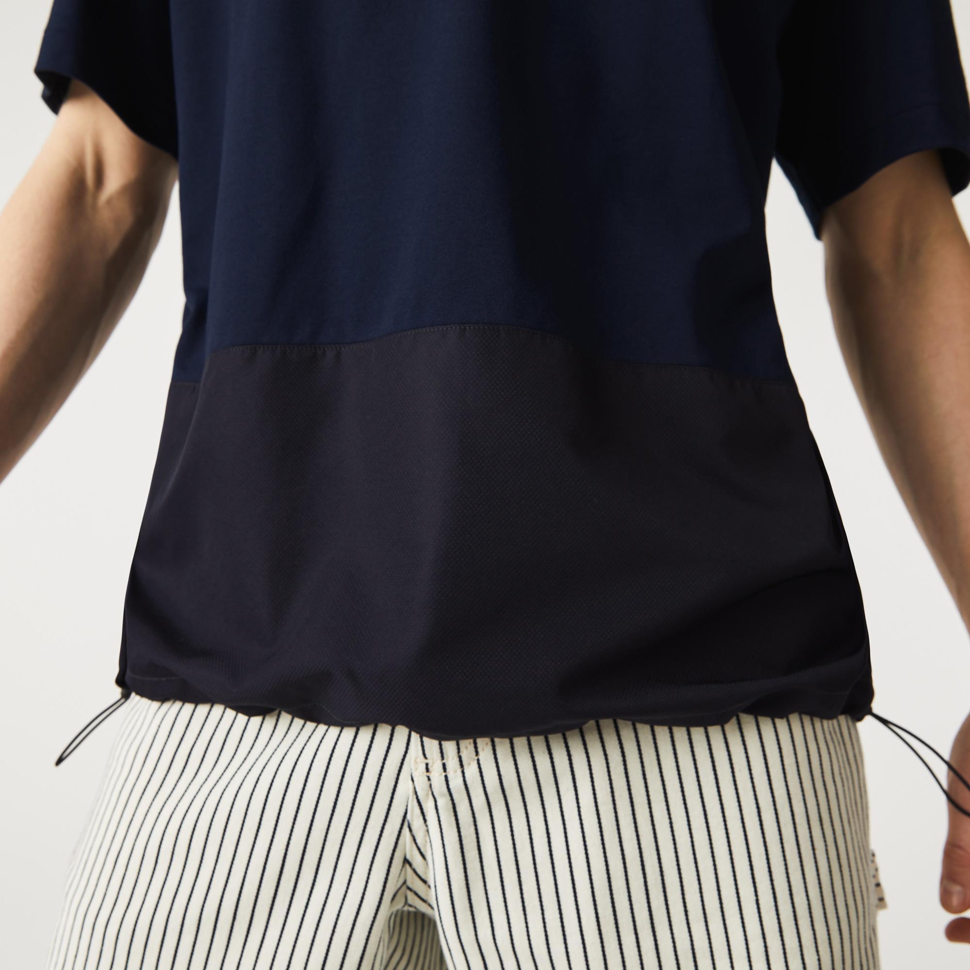 Lacoste Erkek Rahat Fit Bisiklet Yaka Renk Bloklu Lacivert T-Shirt