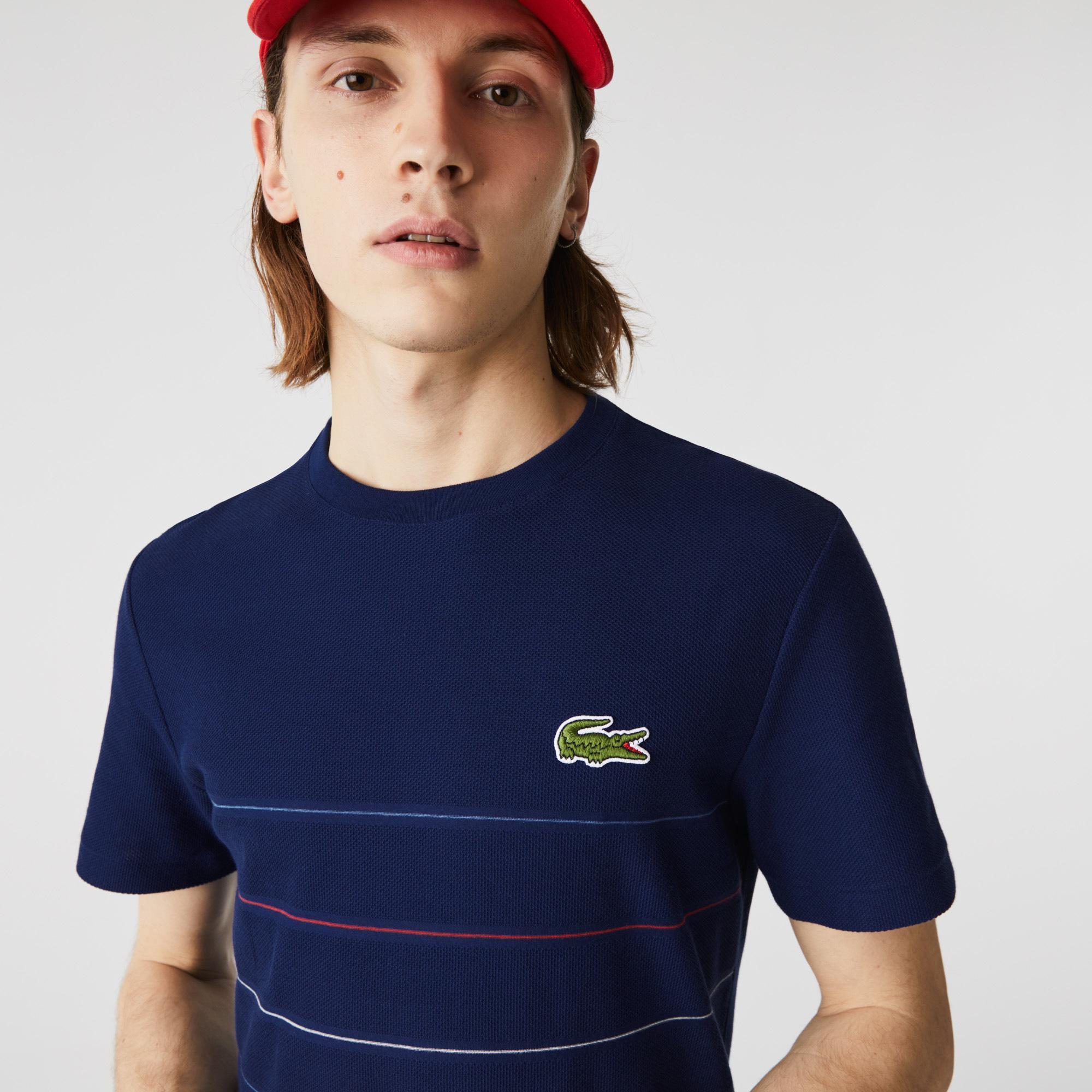 Lacoste Erkek Regular Fit Bisiklet Yaka Çizgili Lacivert T-Shirt