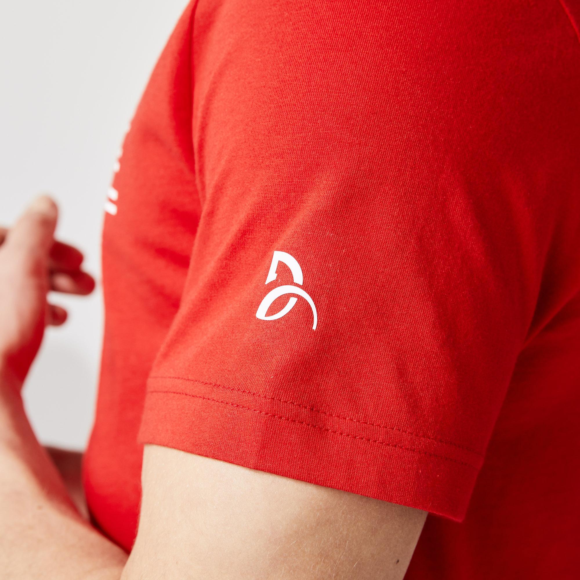Lacoste Sport Novak Djokovic Erkek Bisiklet Yaka Baskılı Kırmızı T-Shirt
