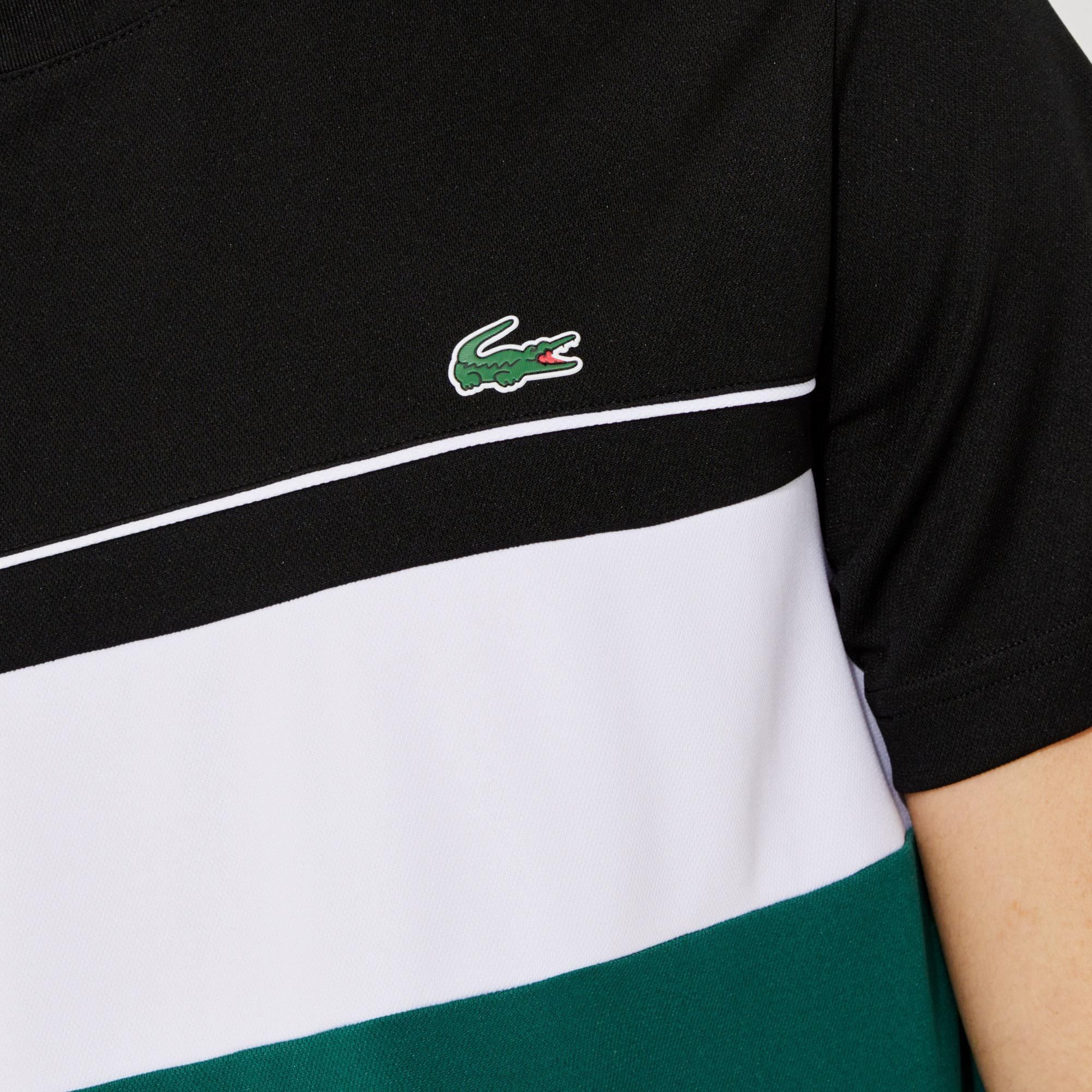 Lacoste Sport Erkek Bisiklet Yaka Renk Bloklu Renkli T-Shirt