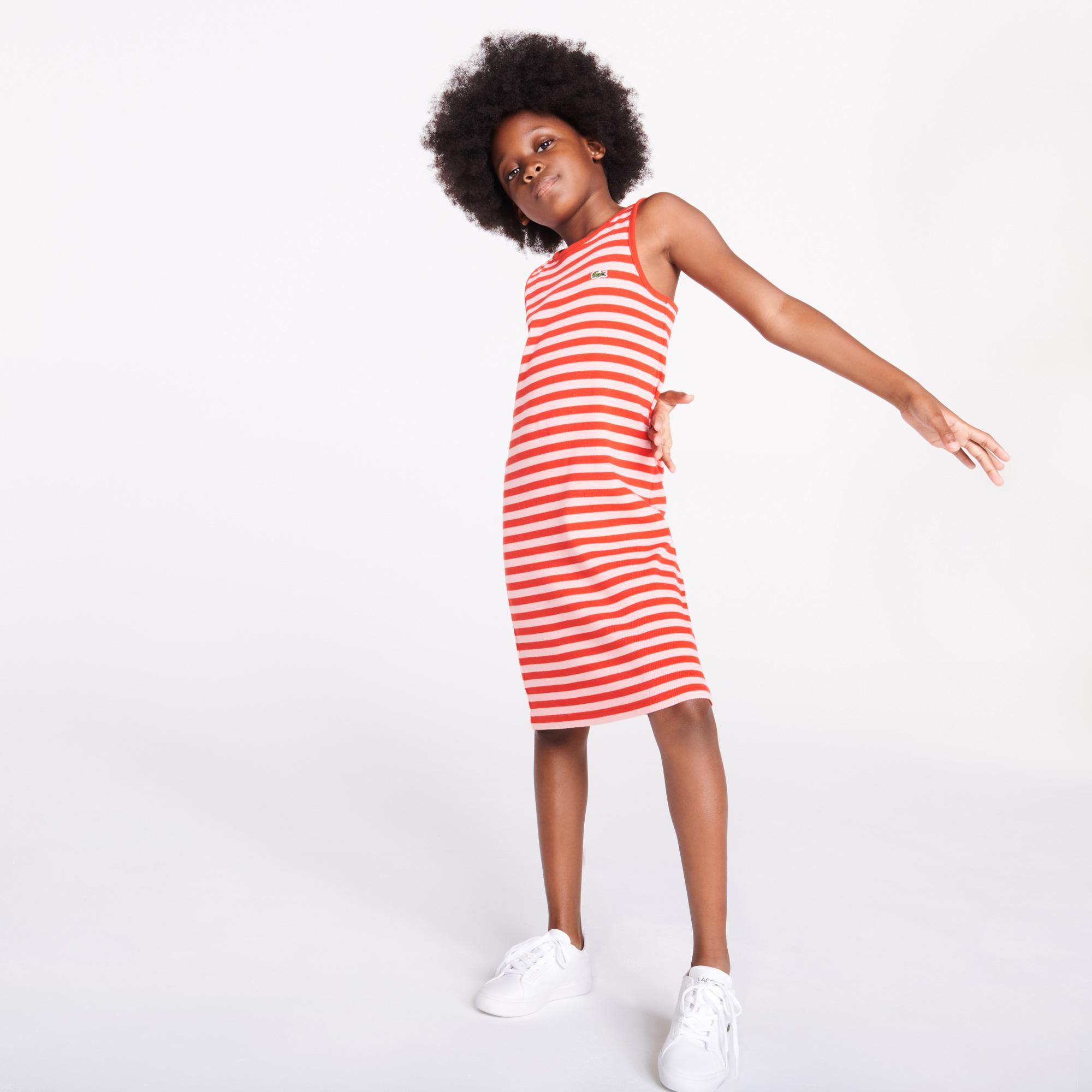 Lacoste Çocuk Kolsuz Bisiklet Yaka Çizgili Kırmızı - Beyaz Elbise
