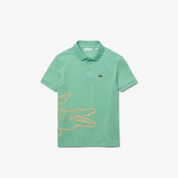 Lacoste Çocuk Baskılı Yeşil Polo