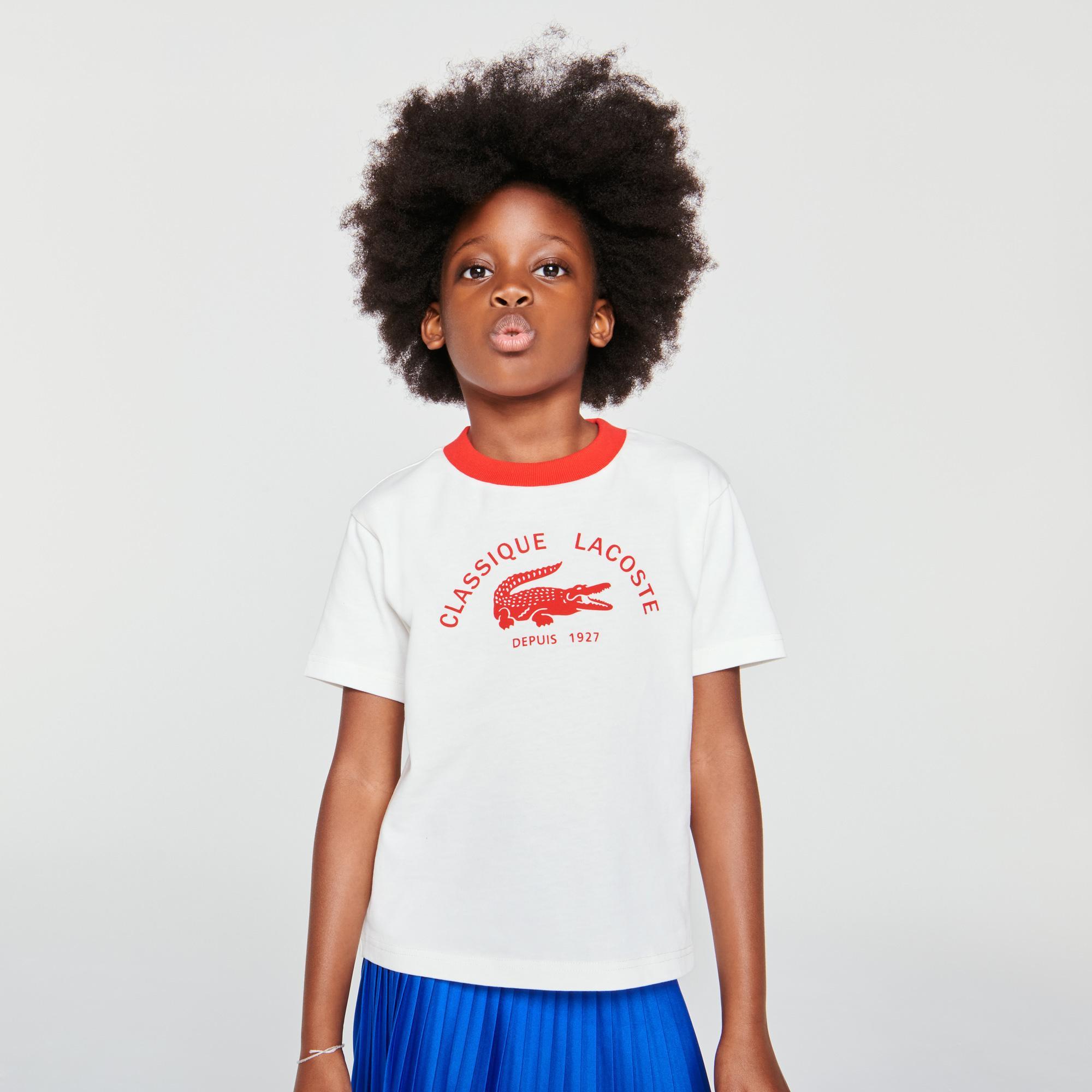 Lacoste Çocuk Bisiklet Yaka Baskılı Beyaz T-Shirt