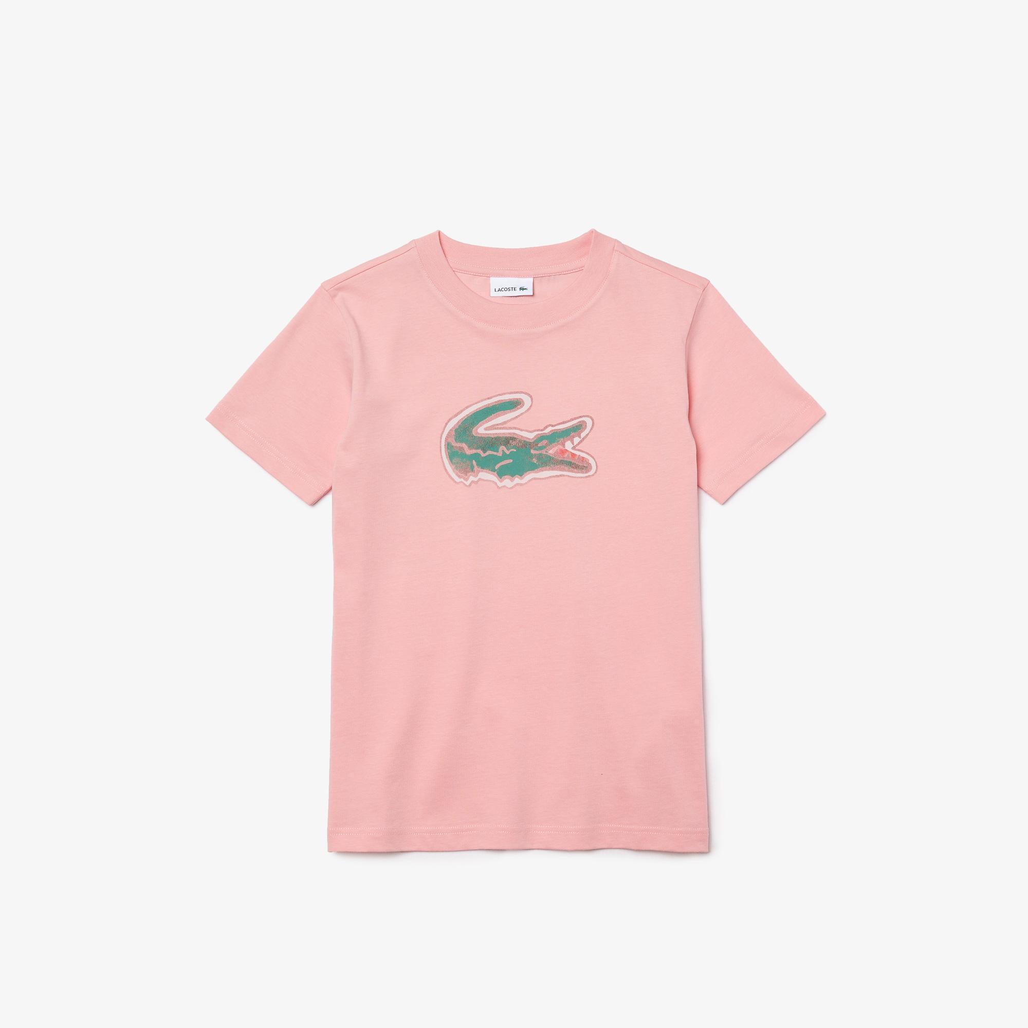 Lacoste Çocuk Bisiklet Yaka Baskılı Pembe T-Shirt