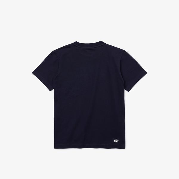 Lacoste Sport Roland Garros Çocuk Bisiklet Yaka Baskılı Lacivert T-Shirt