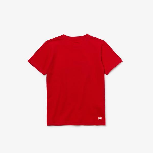 Lacoste Sport Çocuk Bisiklet Yaka Baskılı Kırmızı T-Shirt