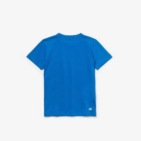 Lacoste Sport Çocuk Bisiklet Yaka Baskılı Saks Mavi T-Shirt
