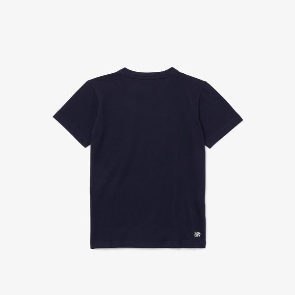 Lacoste Sport Çocuk Bisiklet Yaka Baskılı Lacivert T-Shirt