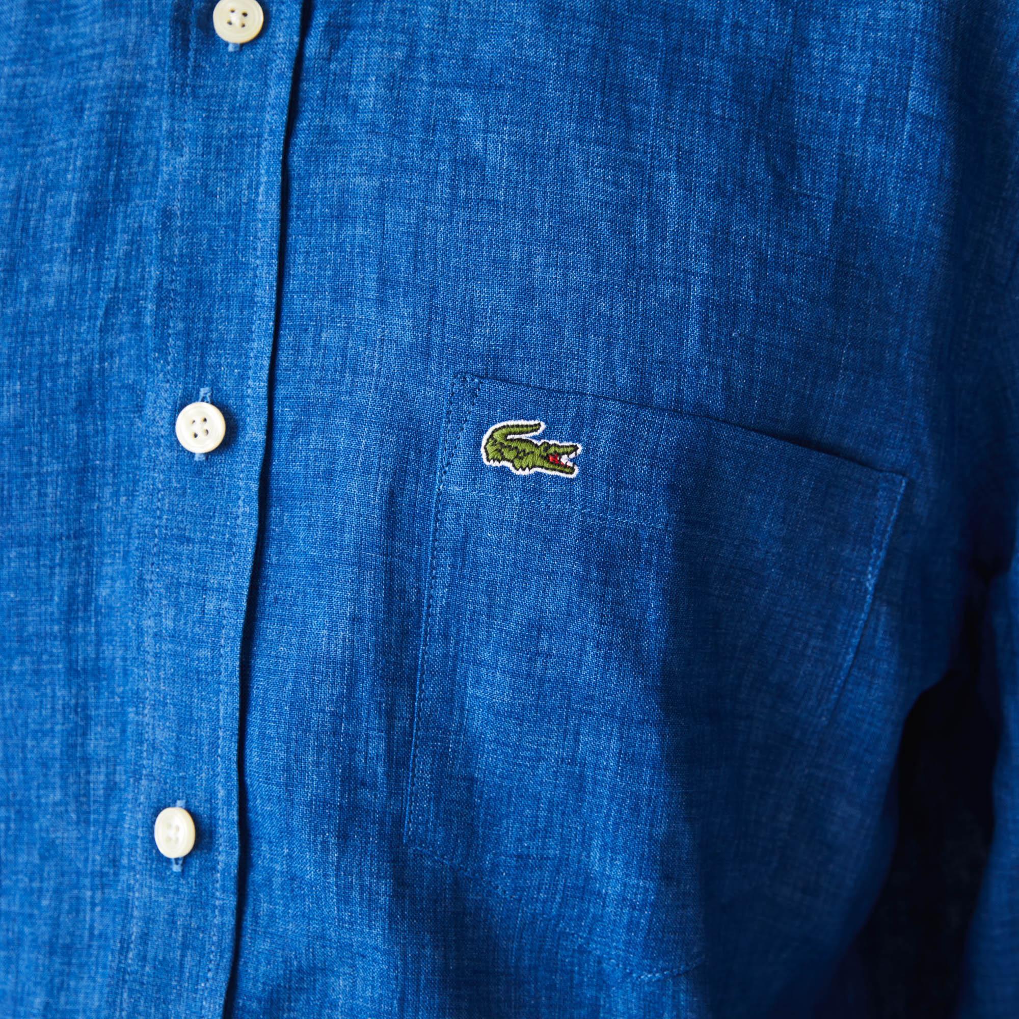 Lacoste Erkek Regular Fit Keten Saks Mavi Gömlek